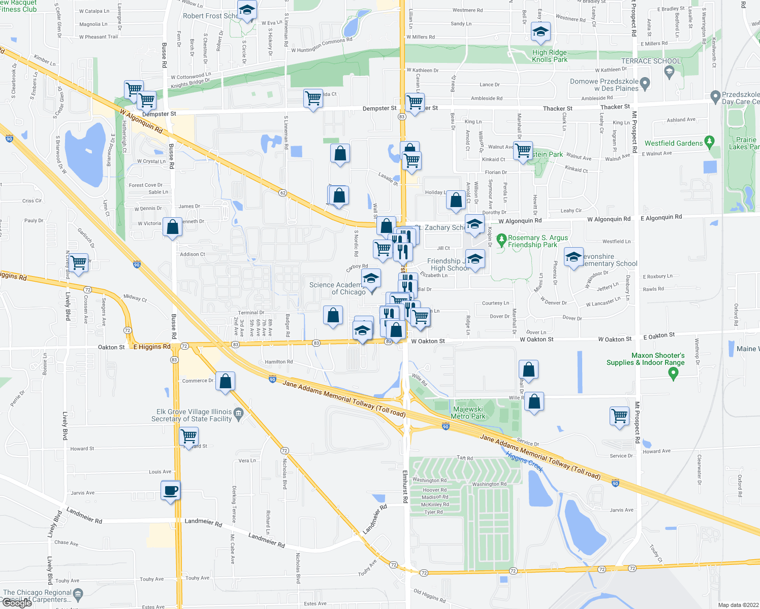 map of restaurants, bars, coffee shops, grocery stores, and more near 579-599 Midway Drive in Mount Prospect