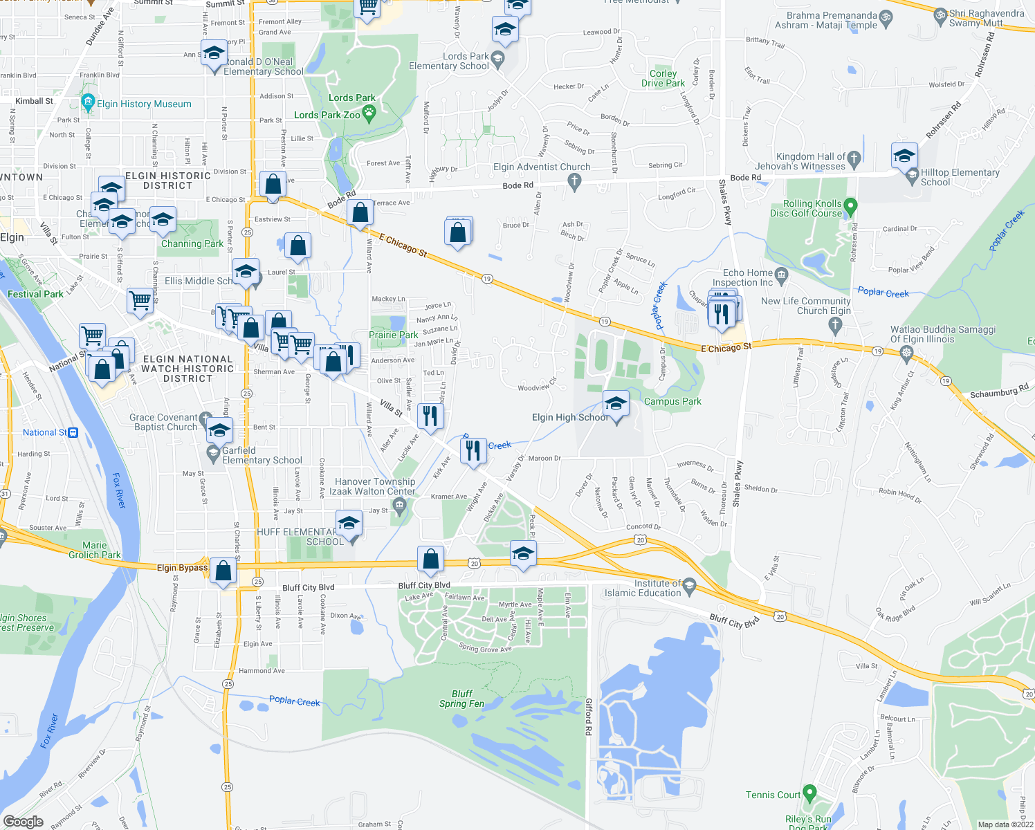 map of restaurants, bars, coffee shops, grocery stores, and more near 996 Langtry Court in Elgin
