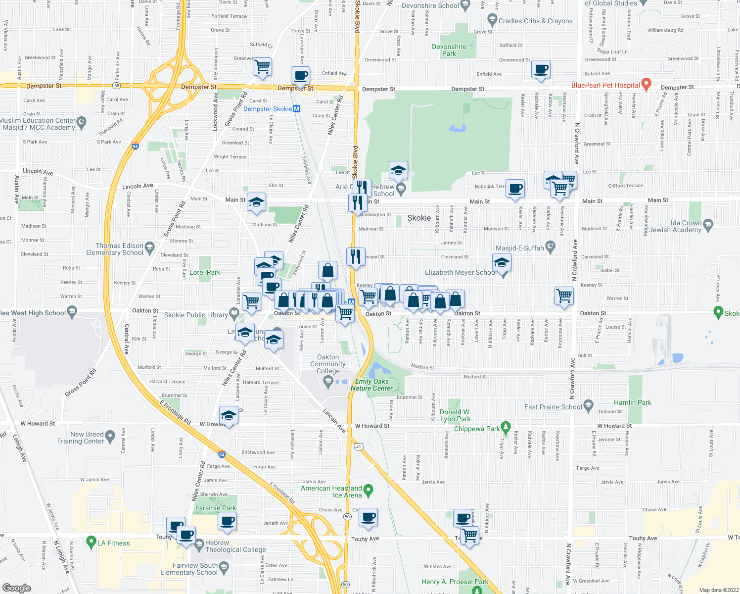 map of restaurants, bars, coffee shops, grocery stores, and more near 8020 Kilpatrick Ave in Skokie