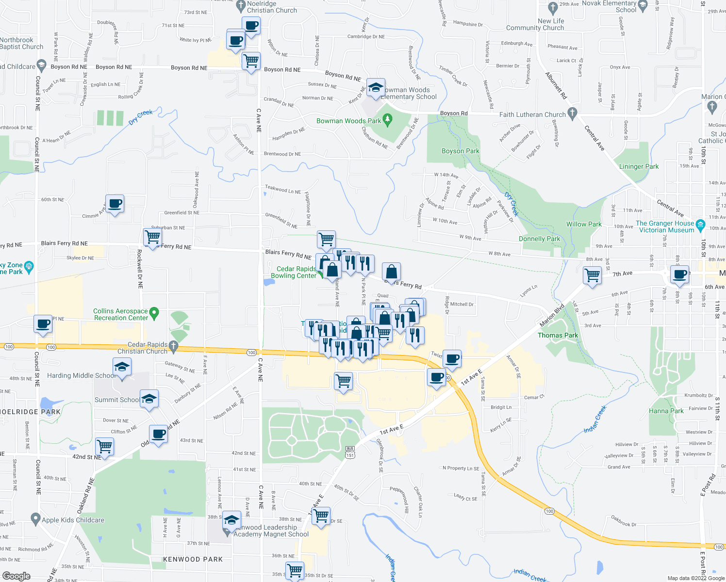map of restaurants, bars, coffee shops, grocery stores, and more near 5313 N Park Place Northeast in Cedar Rapids