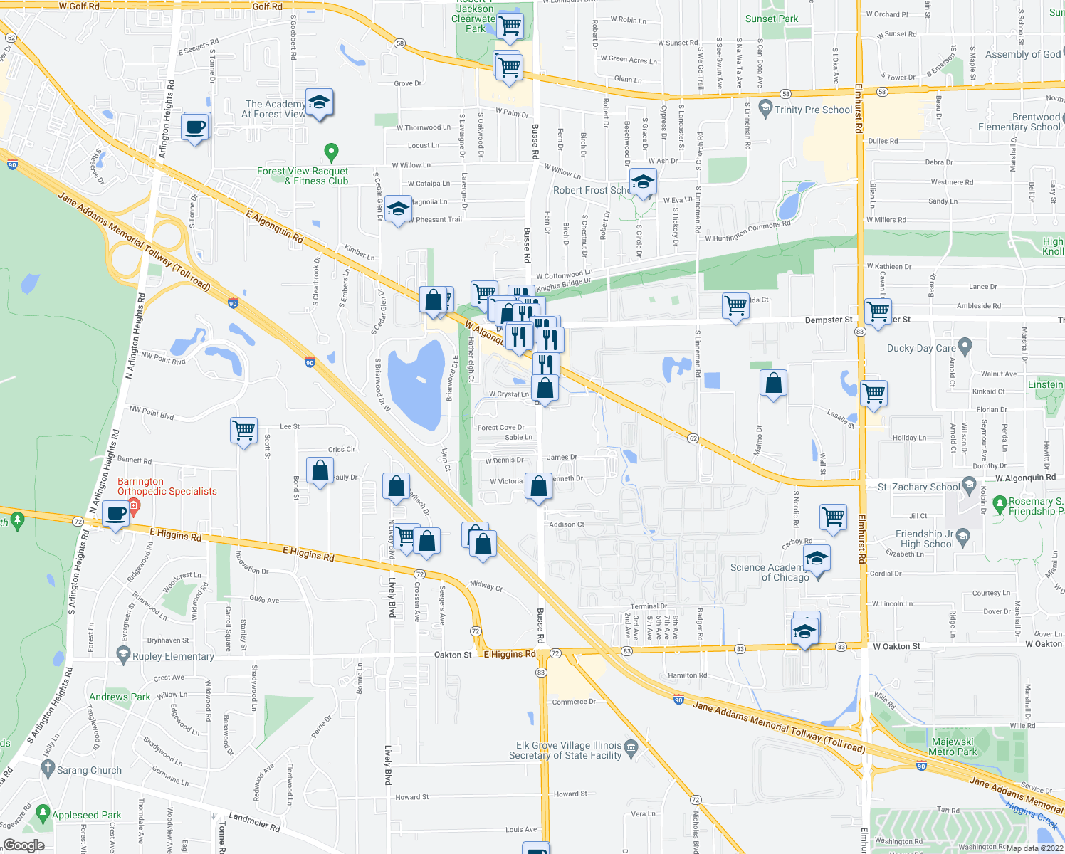 map of restaurants, bars, coffee shops, grocery stores, and more near 1706 Forest Cove Drive in Mount Prospect