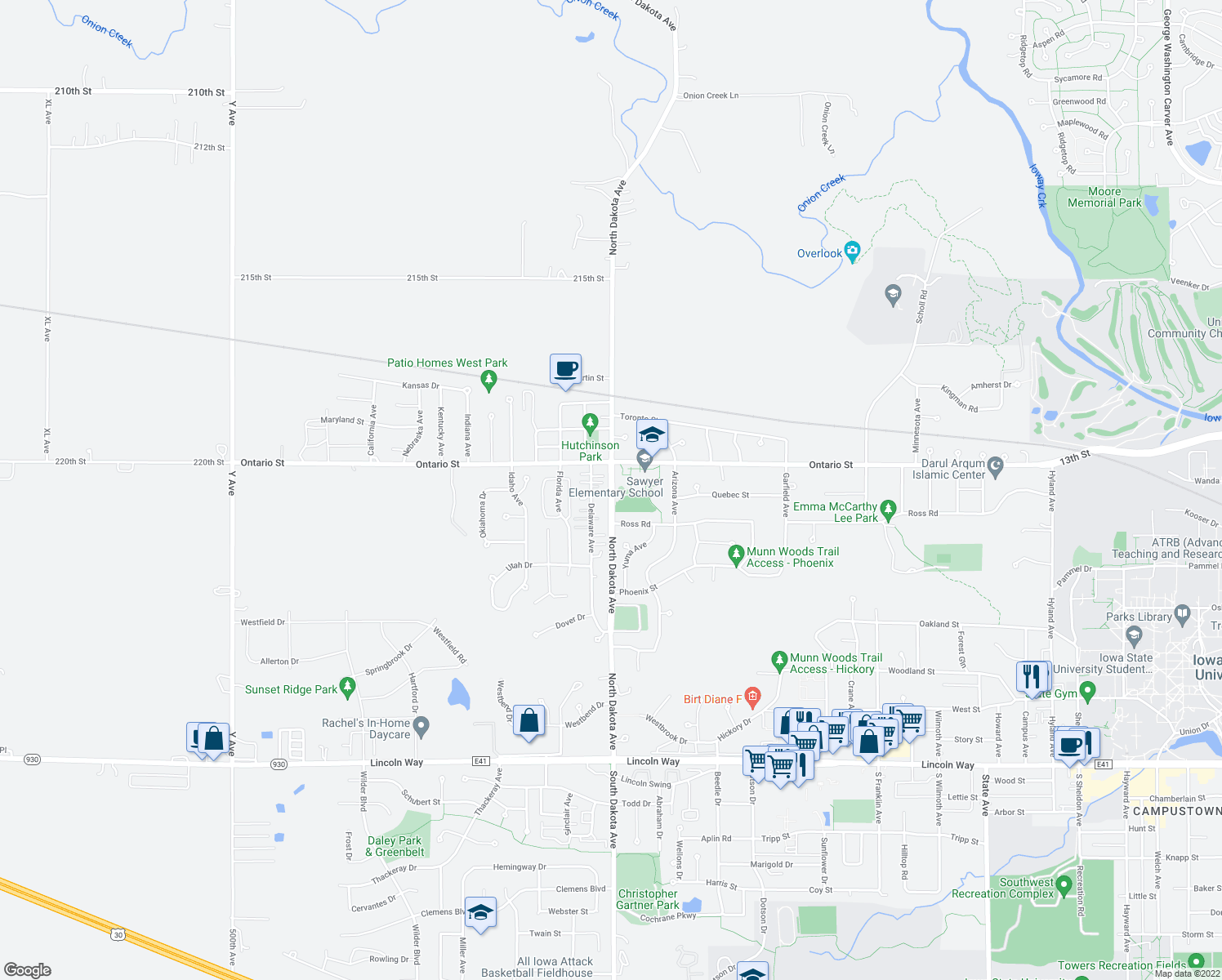 map of restaurants, bars, coffee shops, grocery stores, and more near 1148-1186 Delaware Ave in Ames