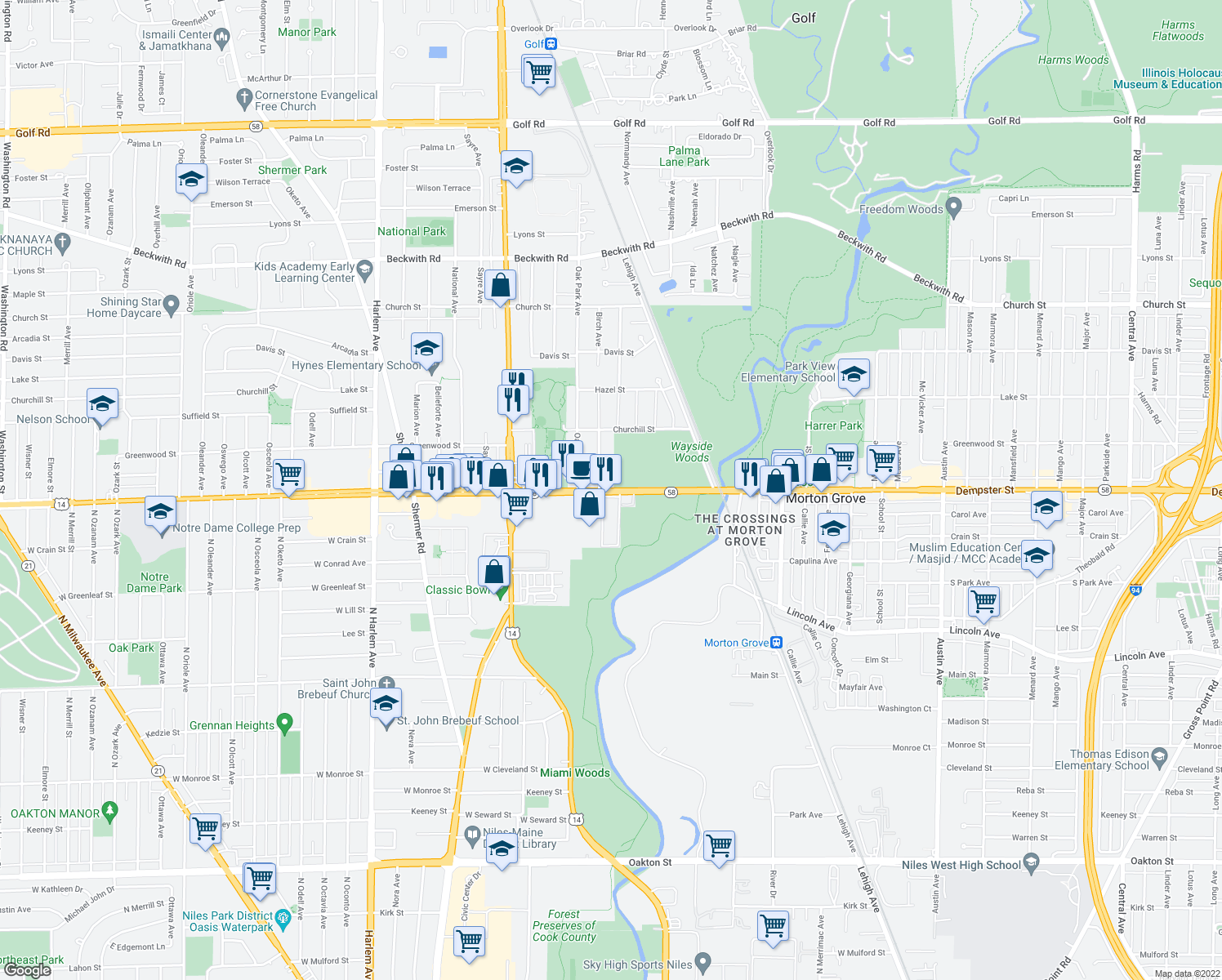 map of restaurants, bars, coffee shops, grocery stores, and more near West Dempster