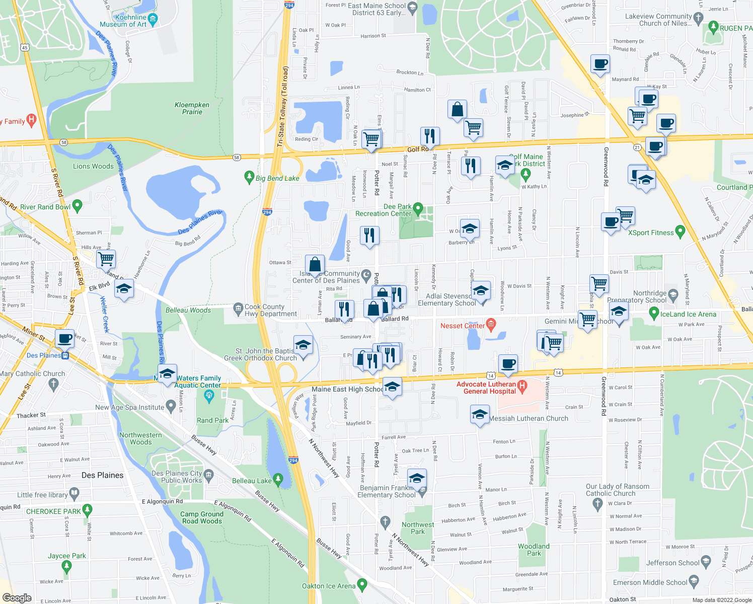 map of restaurants, bars, coffee shops, grocery stores, and more near 9127 Potter Rd in Des Plaines