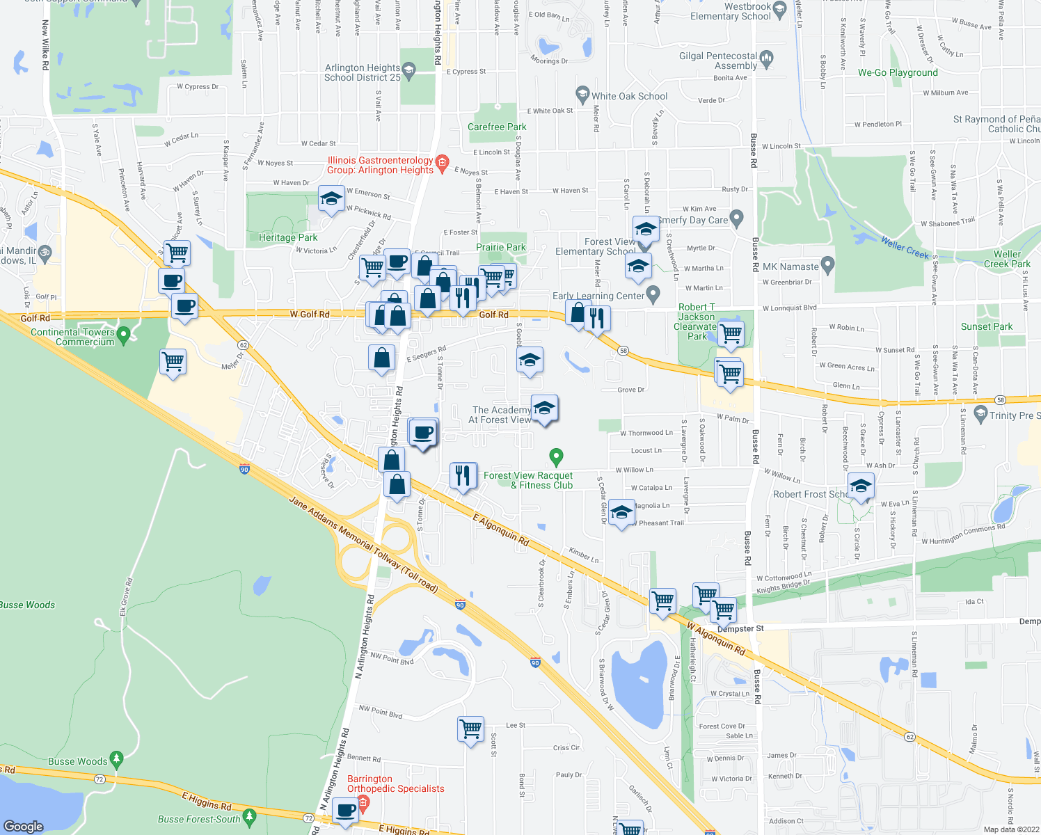map of restaurants, bars, coffee shops, grocery stores, and more near 2134-2198 South Goebbert Road in Arlington Heights