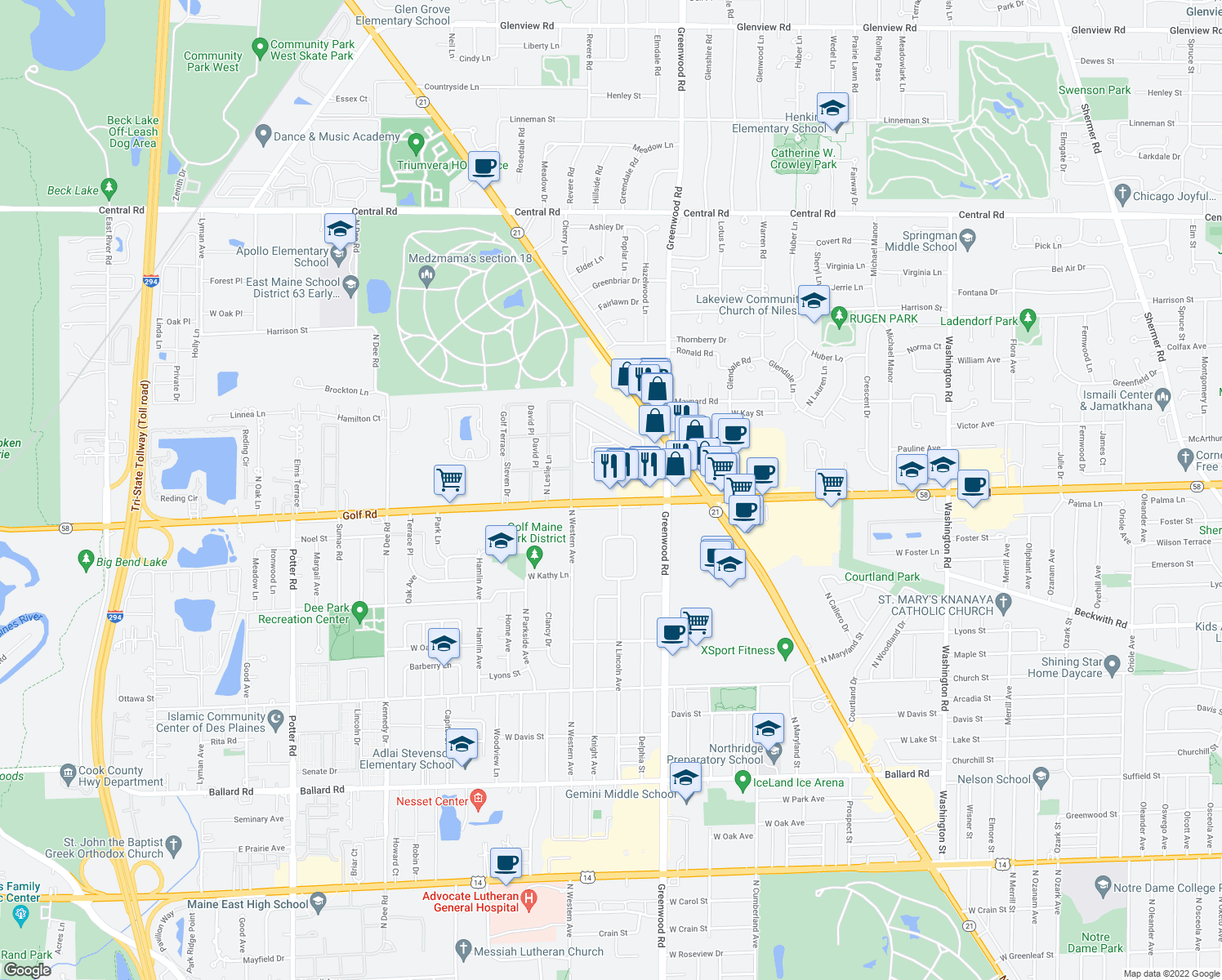 map of restaurants, bars, coffee shops, grocery stores, and more near 8702 West Golf Road in Niles