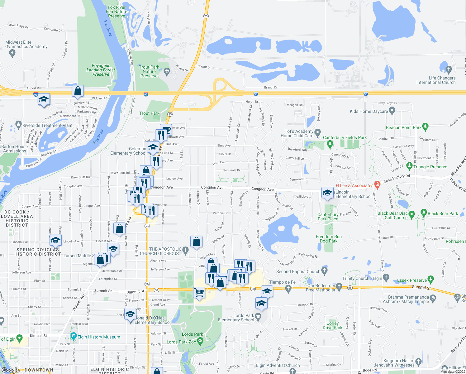 map of restaurants, bars, coffee shops, grocery stores, and more near 900-998 Congdon Ave in Elgin
