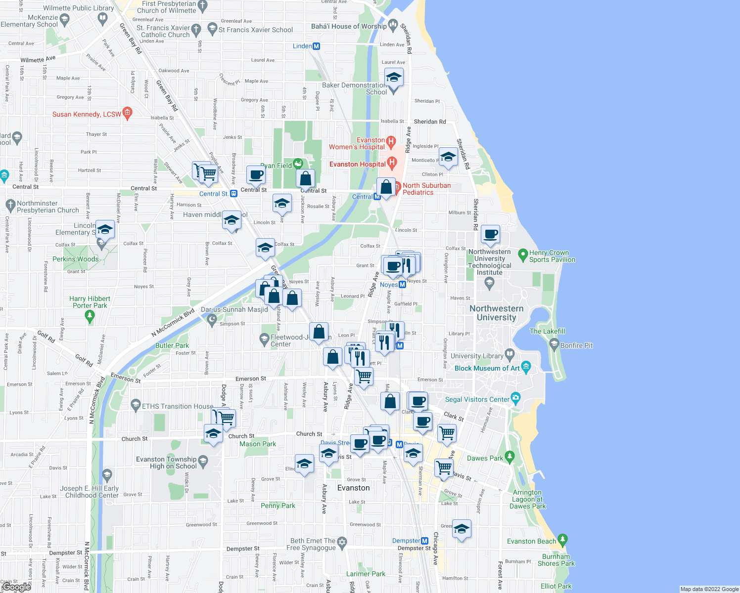 map of restaurants, bars, coffee shops, grocery stores, and more near 2201 Ridge Avenue in Evanston