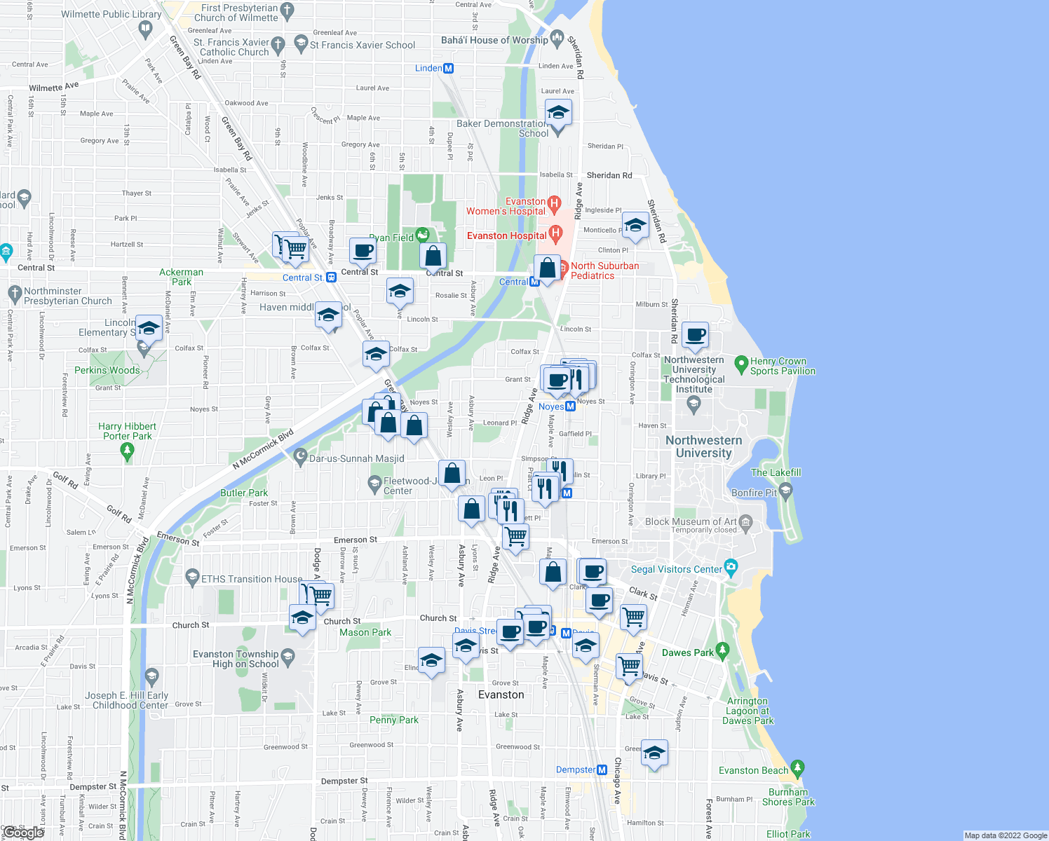 map of restaurants, bars, coffee shops, grocery stores, and more near 2203 Ridge Ave in Evanston