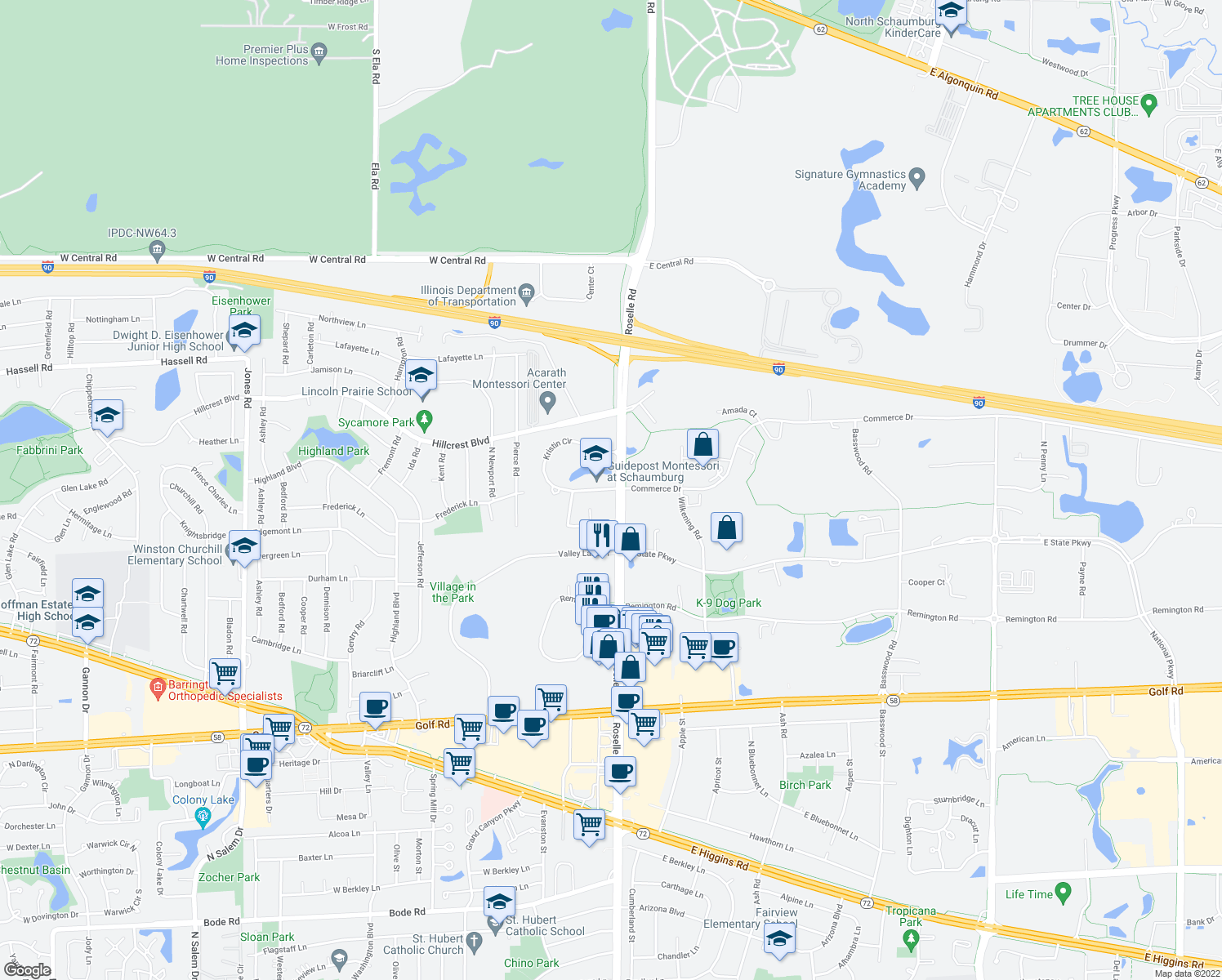 map of restaurants, bars, coffee shops, grocery stores, and more near 1700-1740 North Roselle Road in Schaumburg
