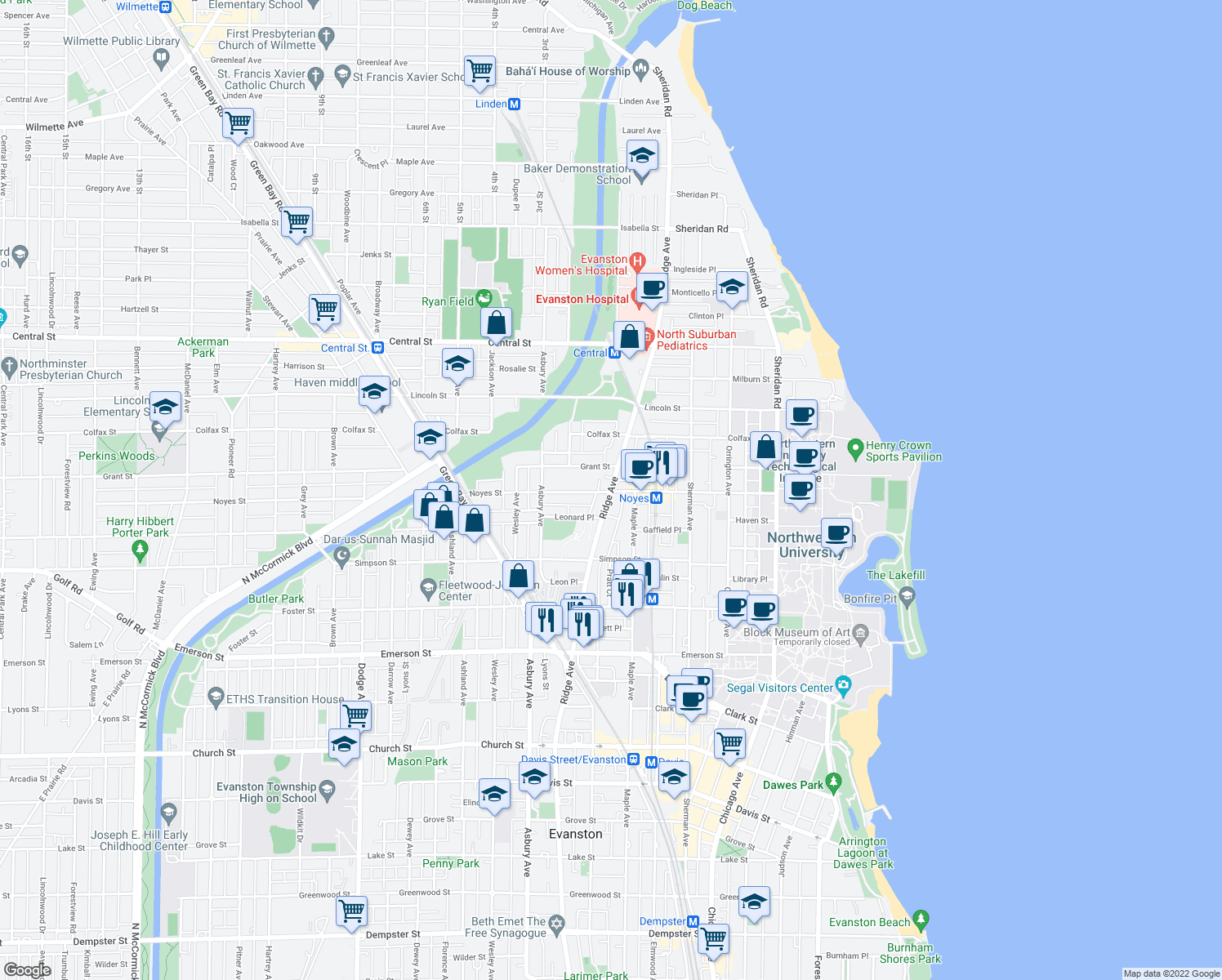 map of restaurants, bars, coffee shops, grocery stores, and more near Ridge Avenue & Noyes Street in Evanston