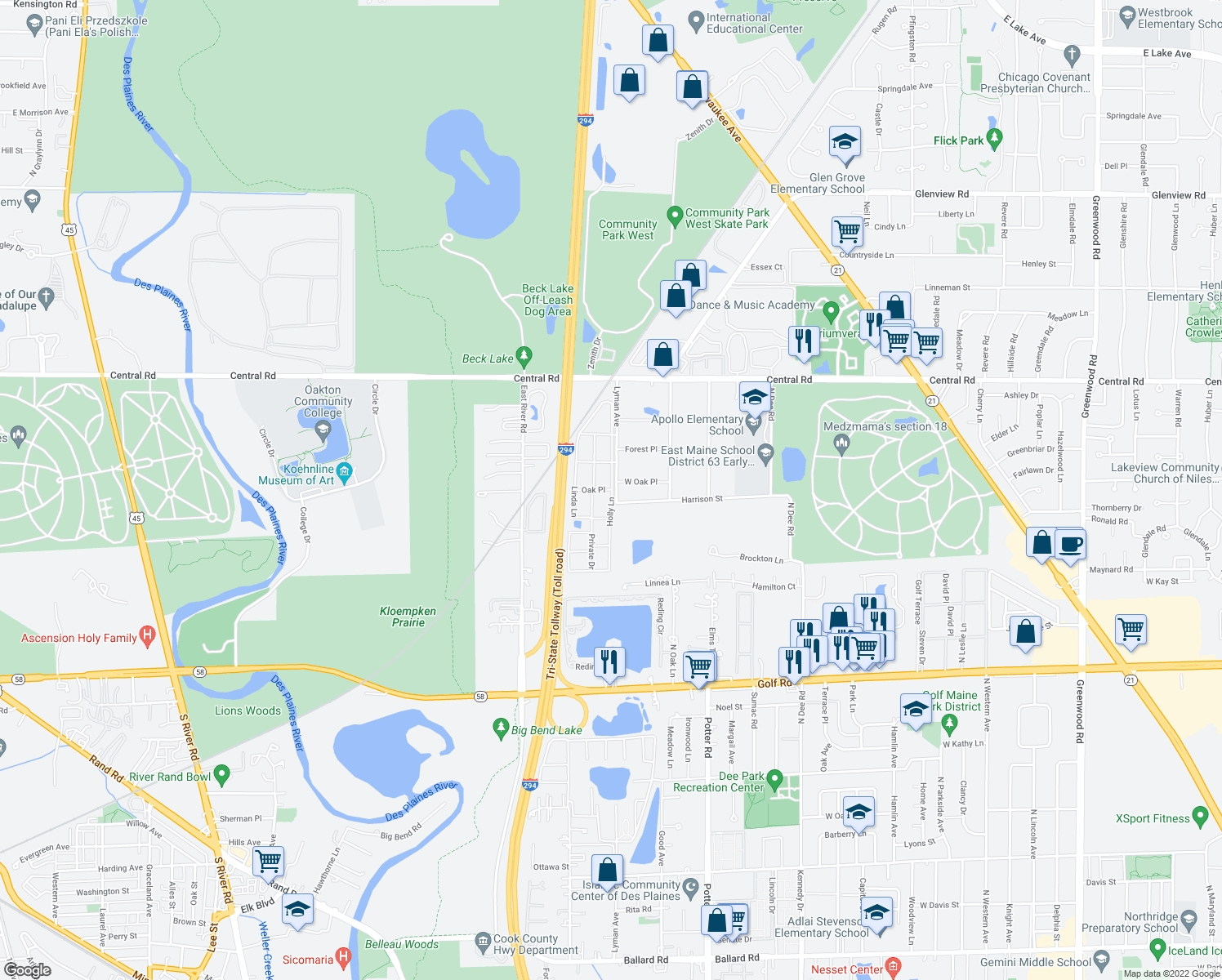 map of restaurants, bars, coffee shops, grocery stores, and more near 9549 Oak Place in Des Plaines