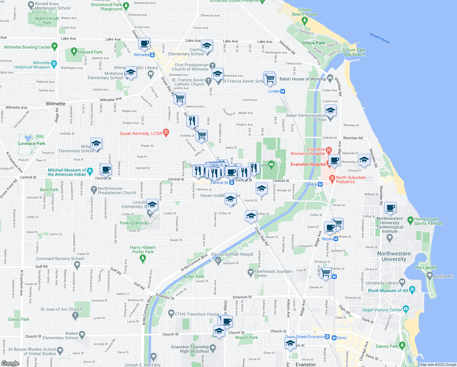 map of restaurants, bars, coffee shops, grocery stores, and more near Green Bay Rd & Harrison St in Evanston
