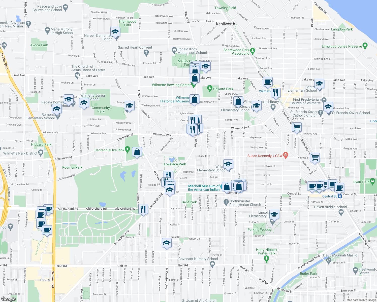 map of restaurants, bars, coffee shops, grocery stores, and more near 205 Ridge Road in Wilmette