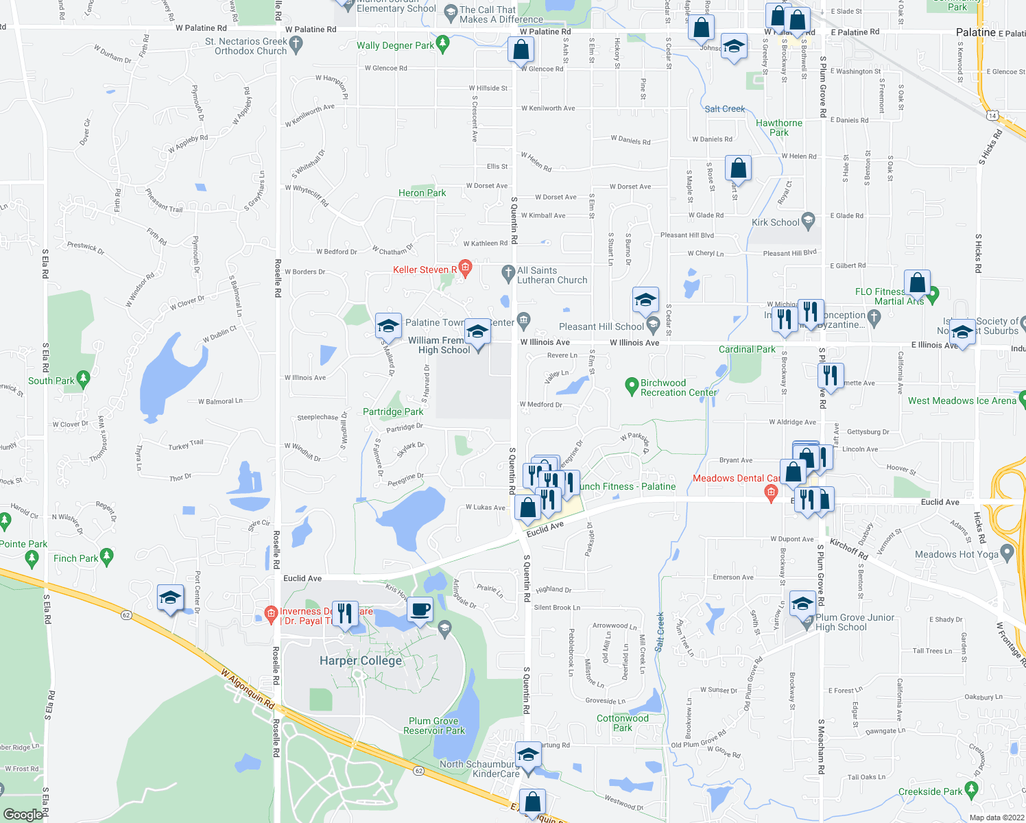 map of restaurants, bars, coffee shops, grocery stores, and more near 1036 S Quentin Rd in Palatine