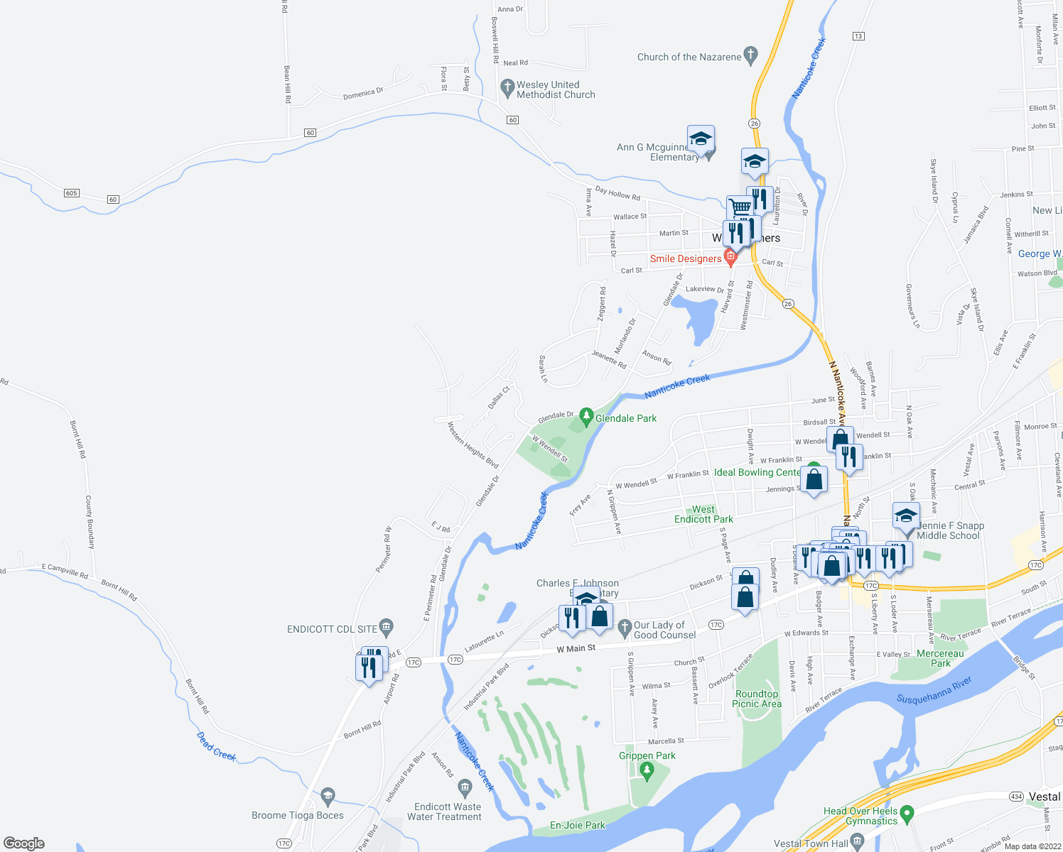 map of restaurants, bars, coffee shops, grocery stores, and more near 397 Glendale Drive in Endicott