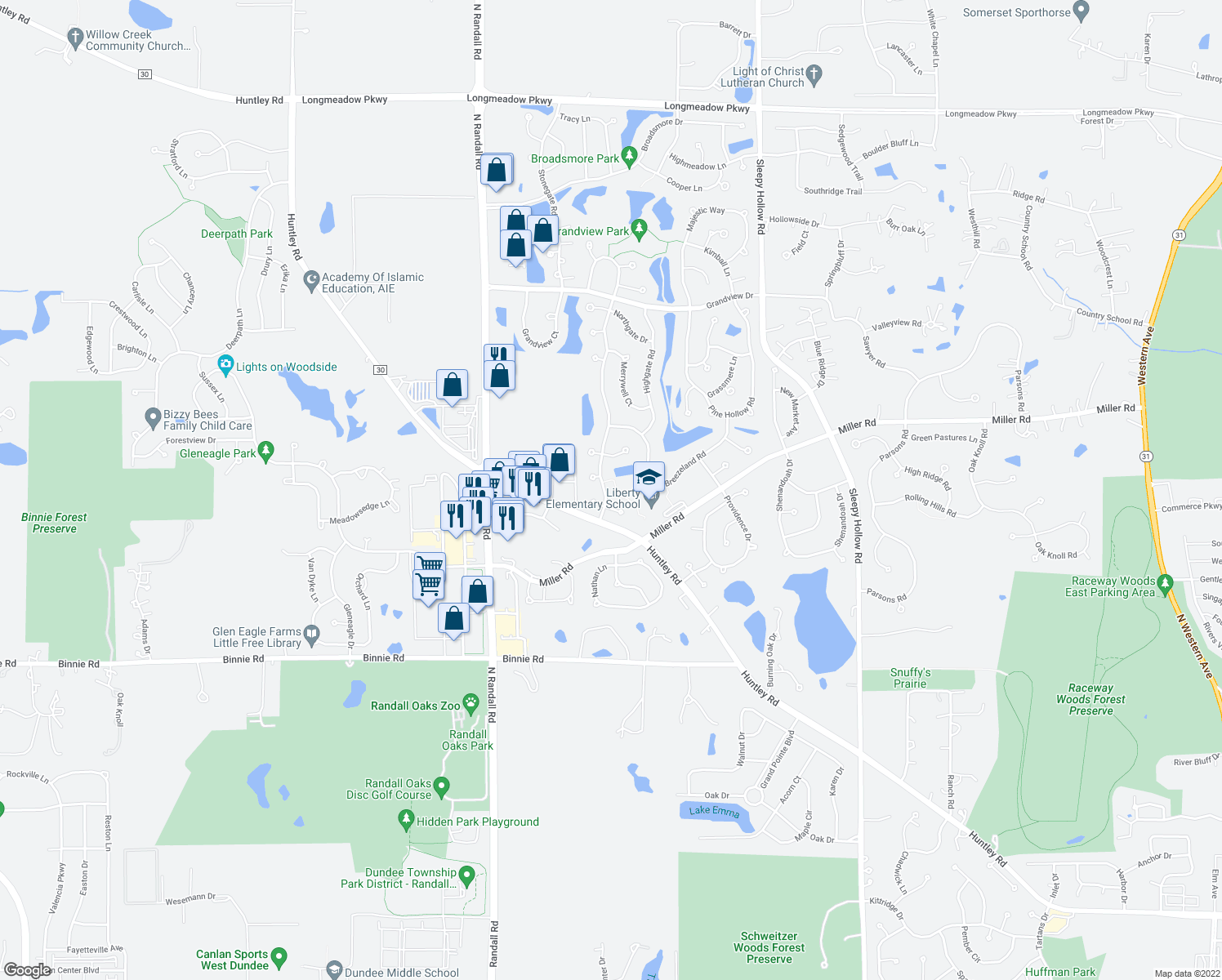 map of restaurants, bars, coffee shops, grocery stores, and more near 7006 Westwood Dr in Carpentersville