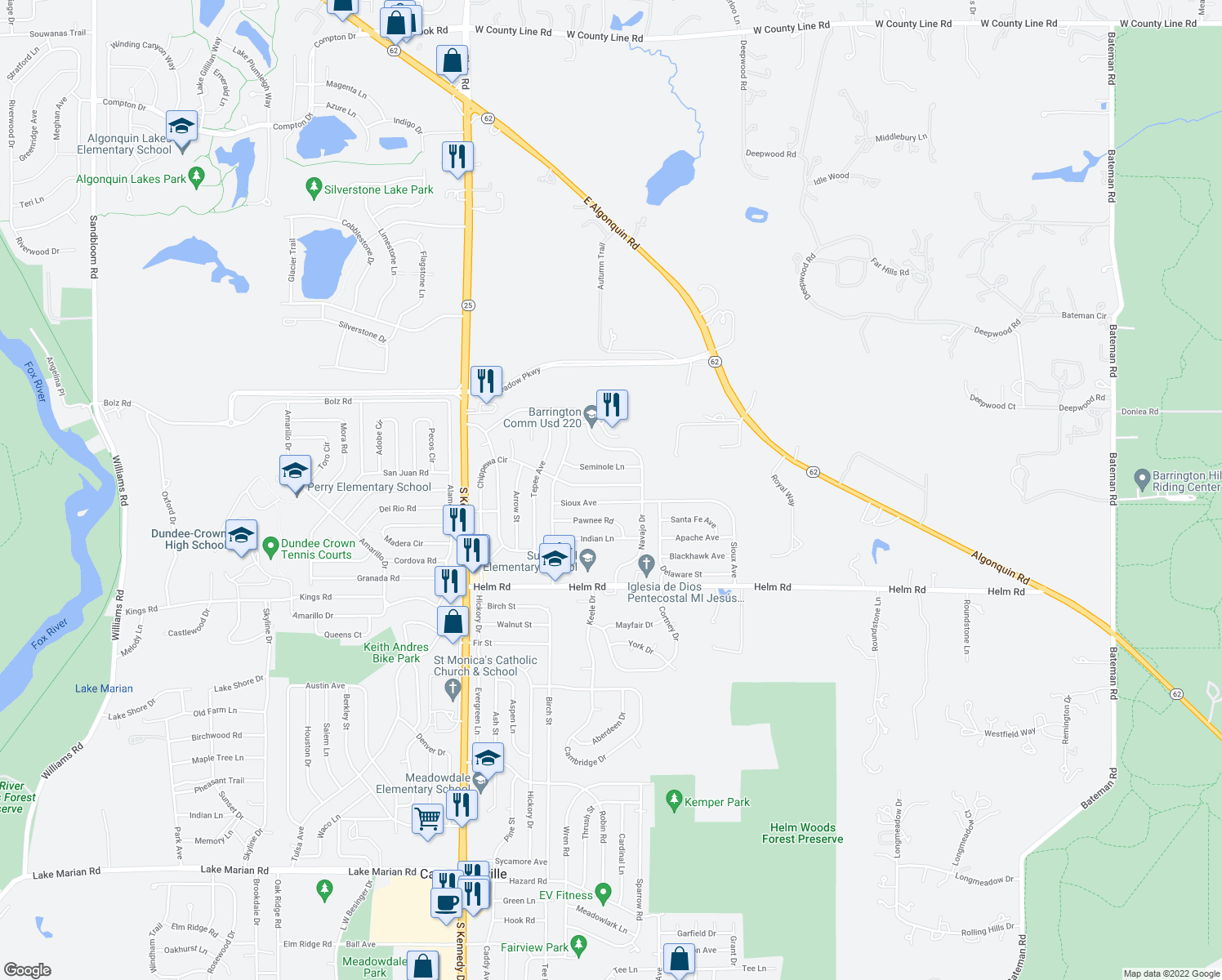 map of restaurants, bars, coffee shops, grocery stores, and more near 908 Chippewa Cir in Carpentersville