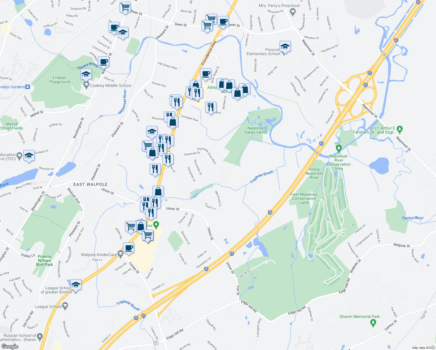 map of restaurants, bars, coffee shops, grocery stores, and more near 86 Hampden Drive in Norwood