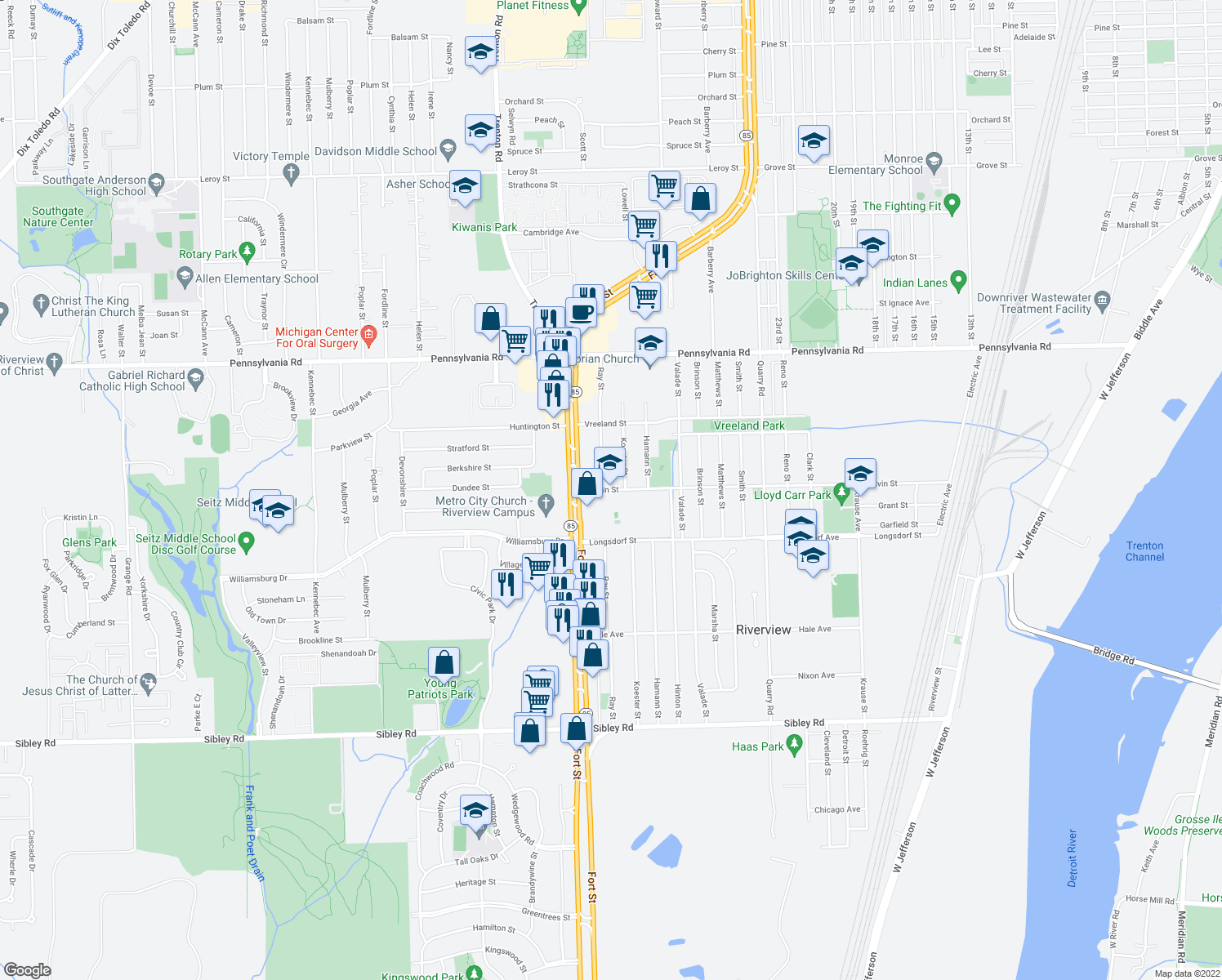 map of restaurants, bars, coffee shops, grocery stores, and more near 17558 Koester St in Riverview