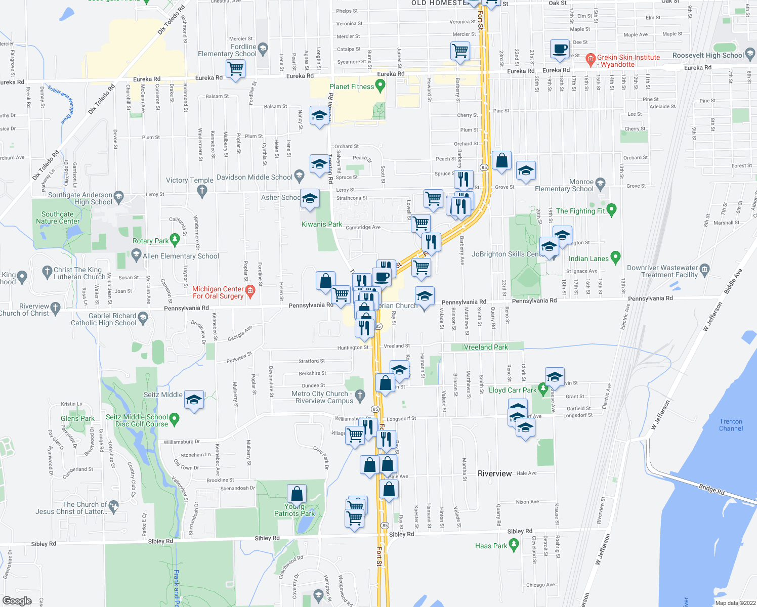 map of restaurants, bars, coffee shops, grocery stores, and more near Fort St & Pennsylvania Rd in Riverview