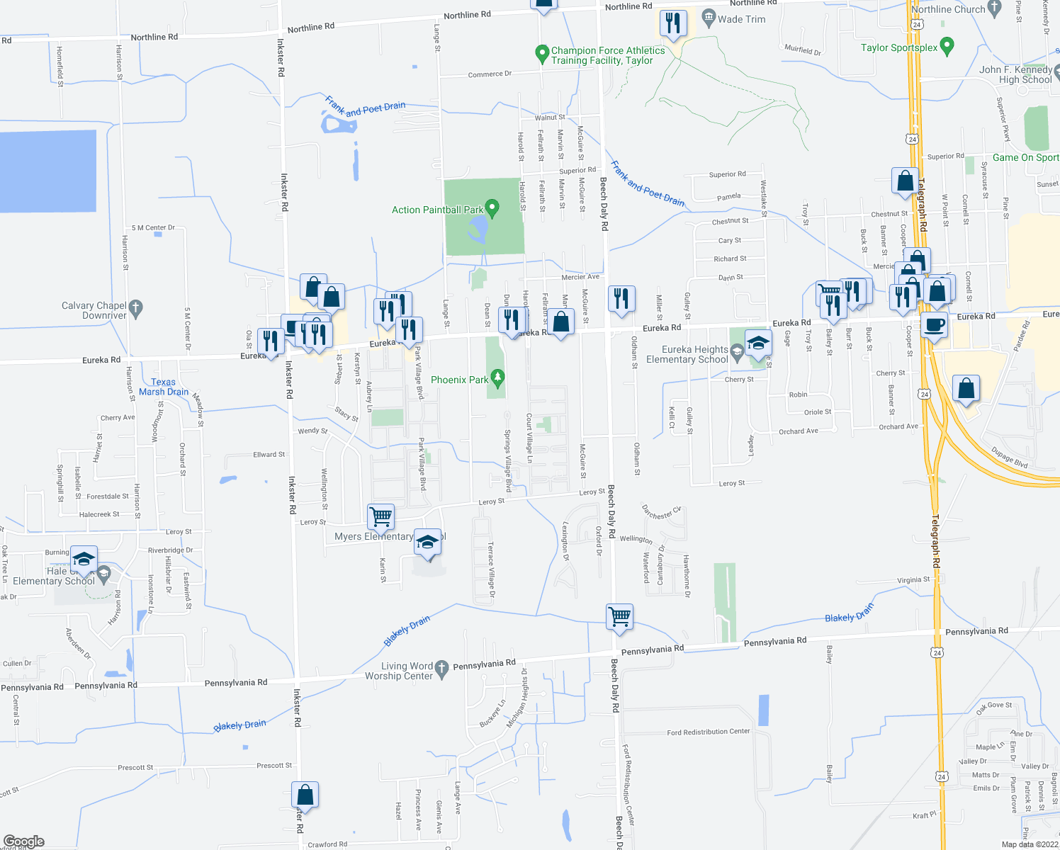 map of restaurants, bars, coffee shops, grocery stores, and more near 15505 Court Village Lane in Taylor