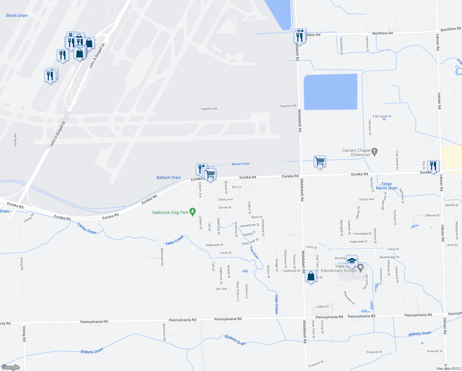 map of restaurants, bars, coffee shops, grocery stores, and more near 30427 Teak Lane in Romulus