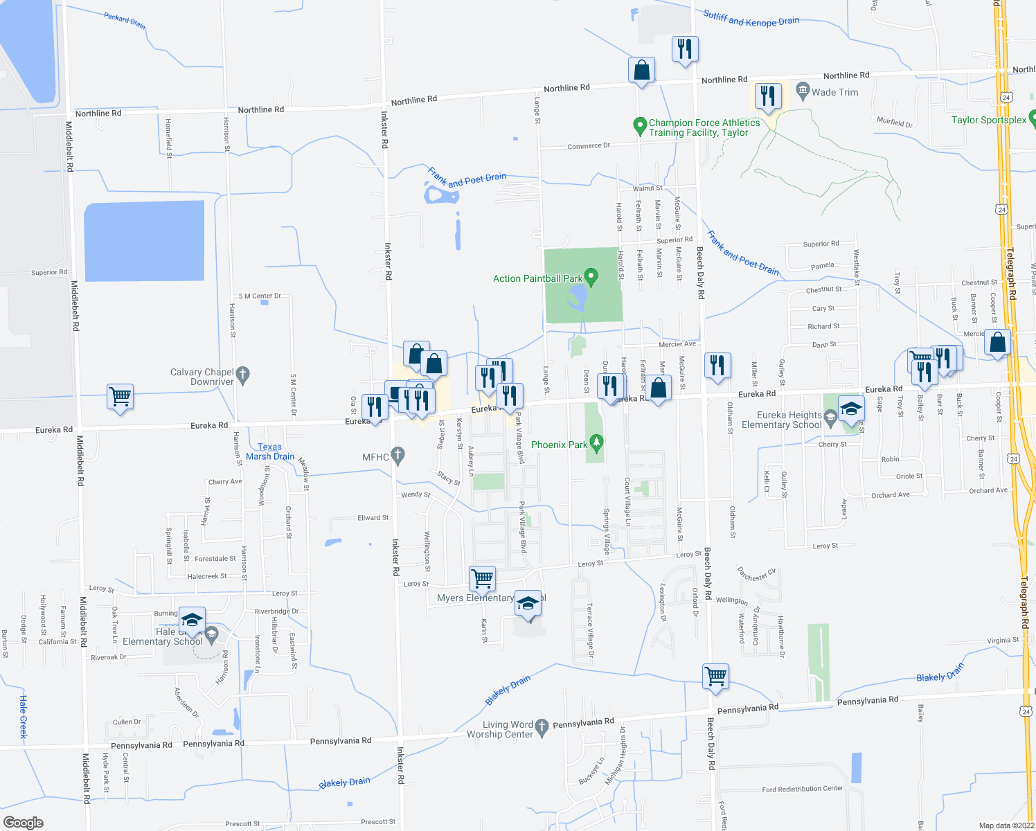 map of restaurants, bars, coffee shops, grocery stores, and more near 15150 Park Village Boulevard in Taylor
