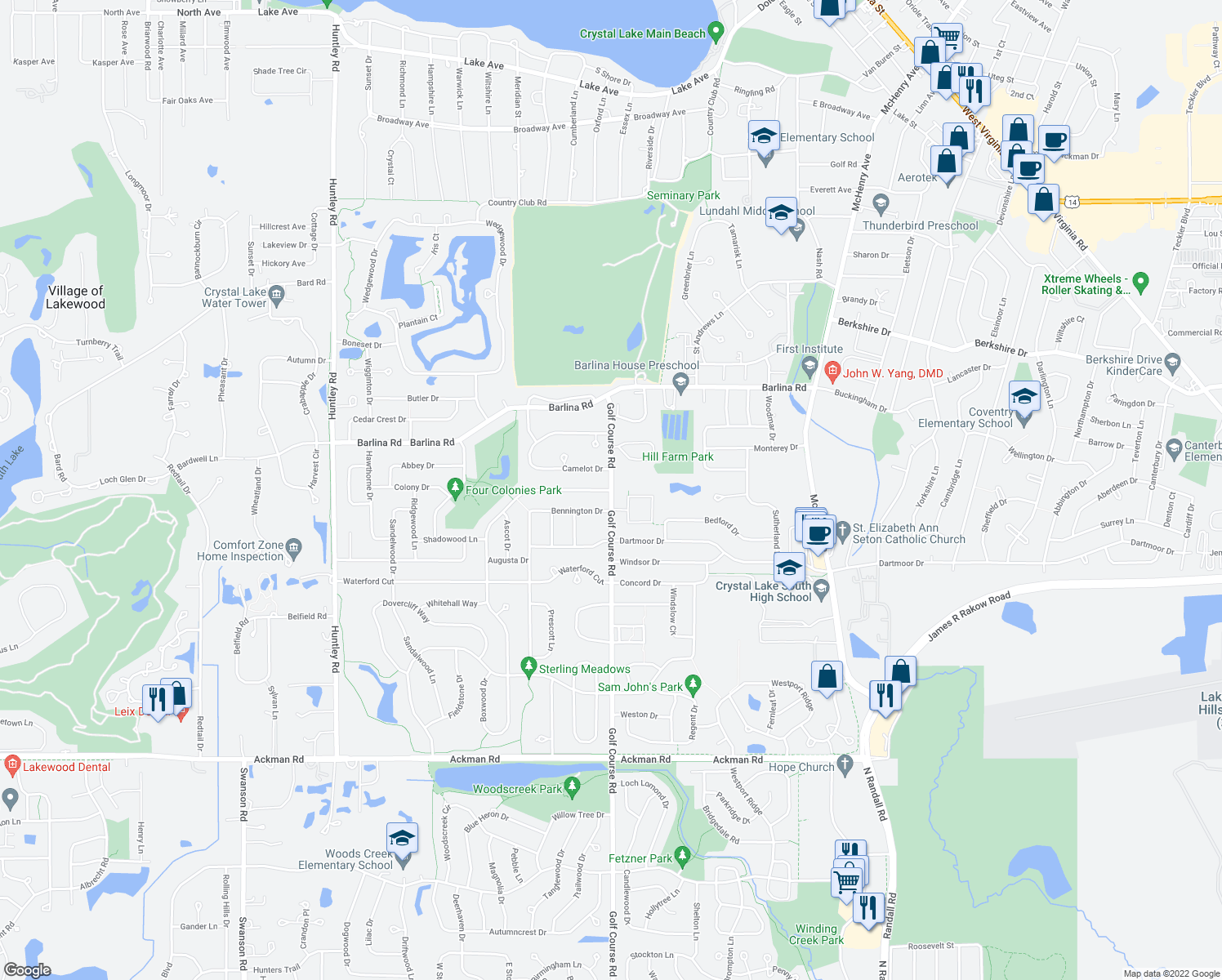 map of restaurants, bars, coffee shops, grocery stores, and more near 938-970 Golf Course Road in Crystal Lake