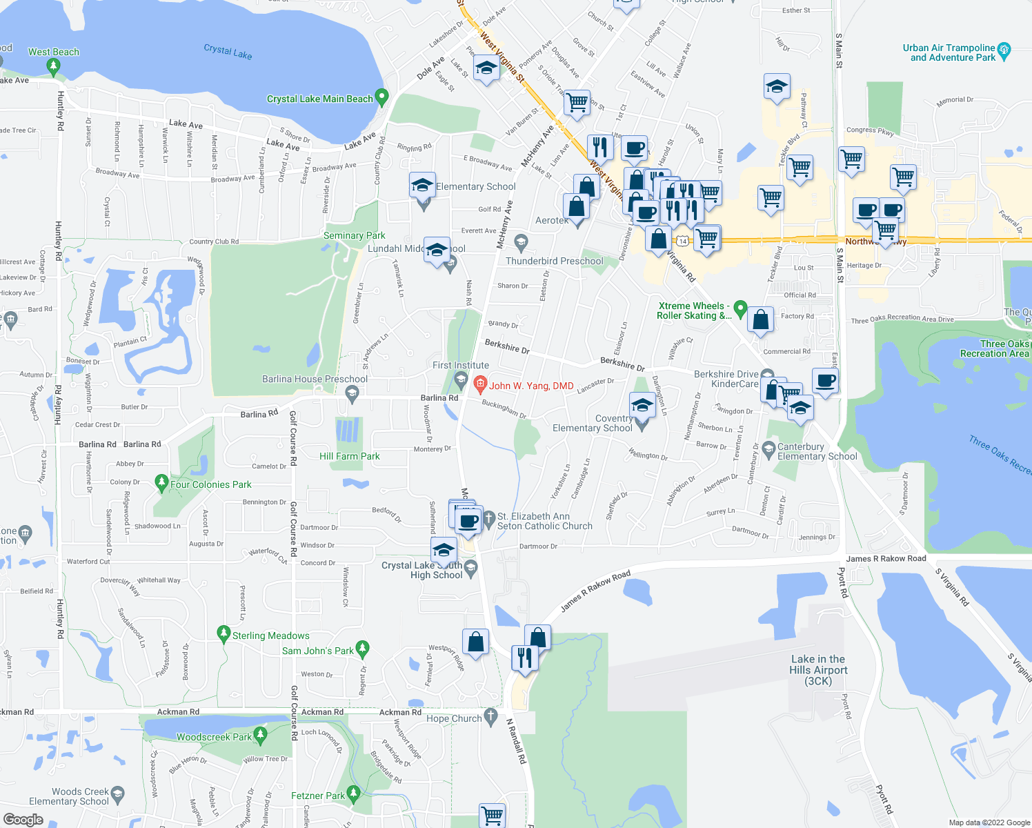 map of restaurants, bars, coffee shops, grocery stores, and more near 421 Buckingham Drive in Crystal Lake