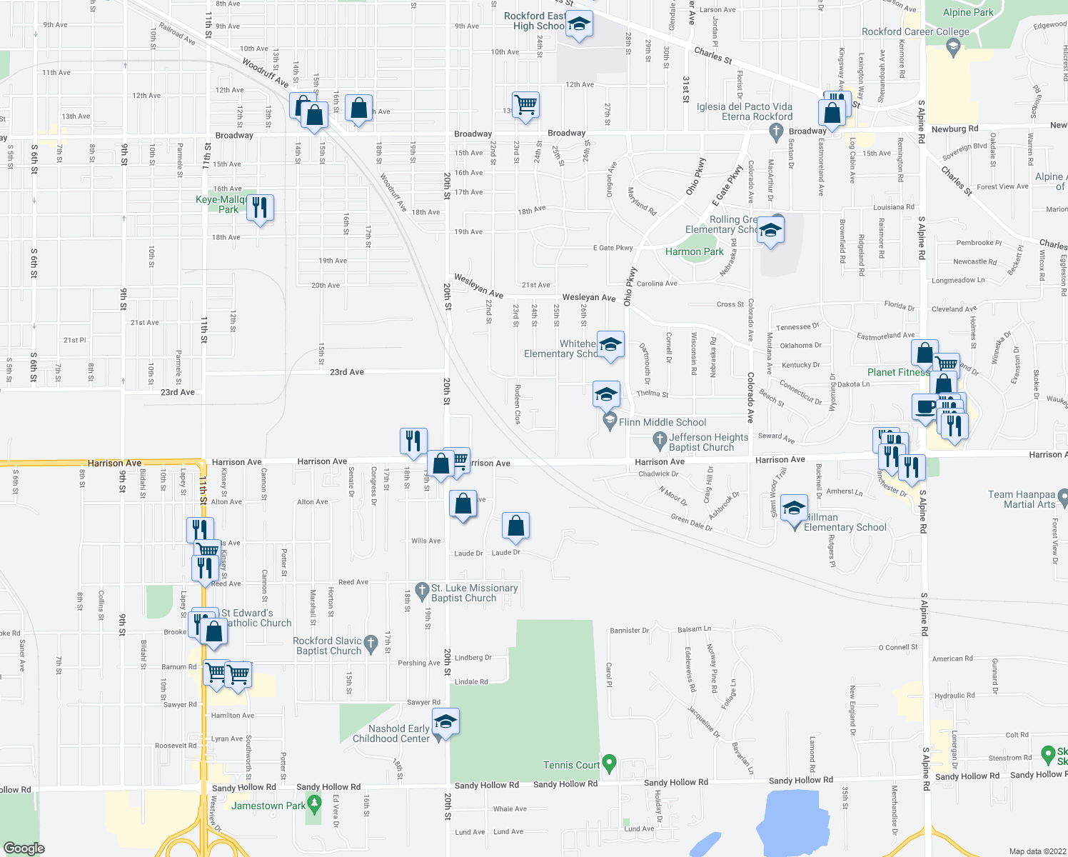 map of restaurants, bars, coffee shops, grocery stores, and more near Rudeen Close in Rockford