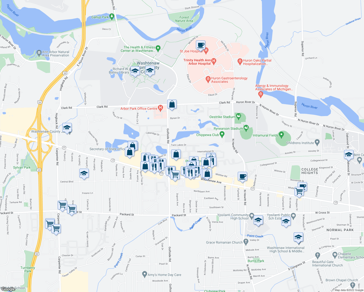 map of restaurants, bars, coffee shops, grocery stores, and more near 2960 International Dr in Ypsilanti