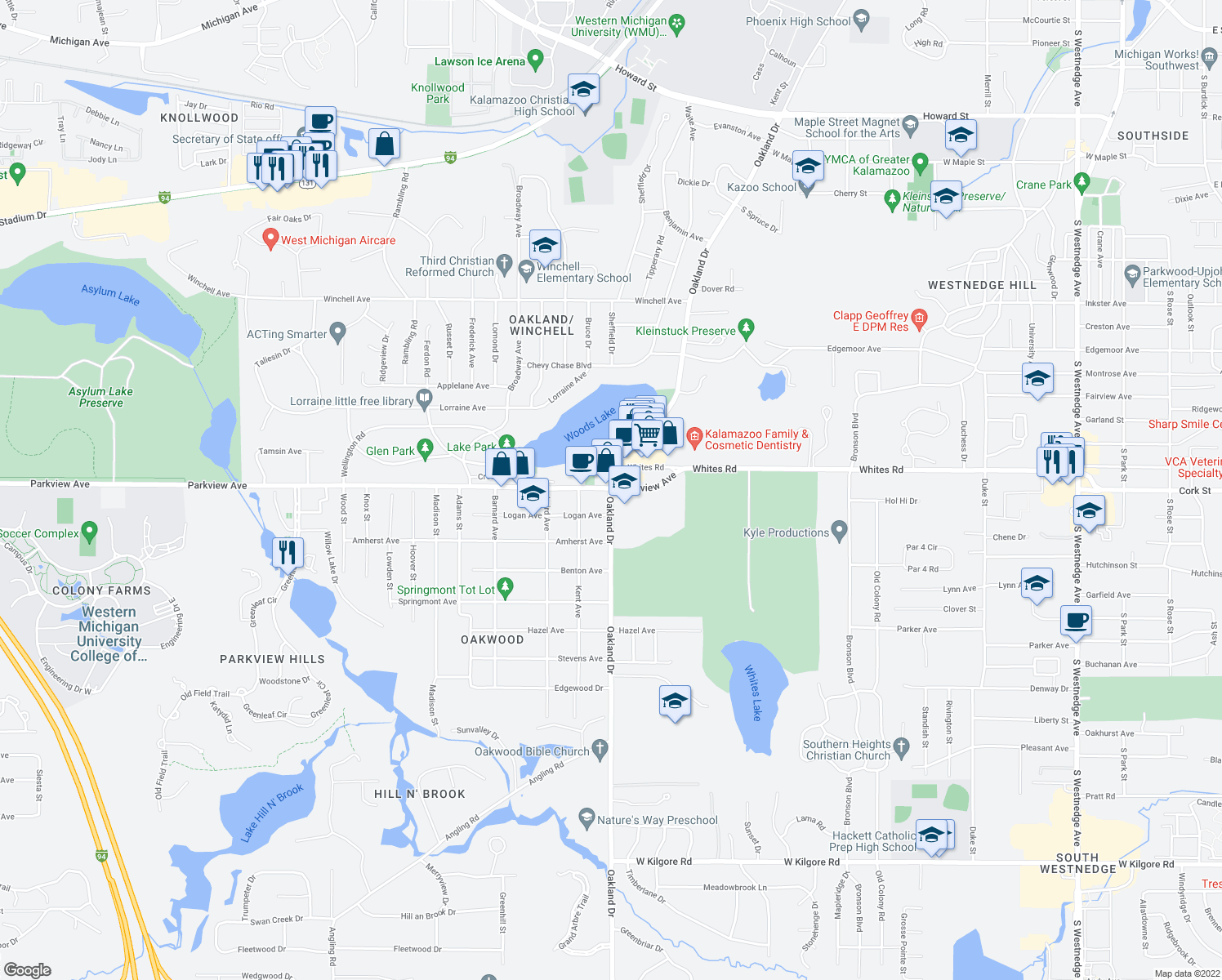 map of restaurants, bars, coffee shops, grocery stores, and more near 3201-3471 Oakland Drive in Kalamazoo