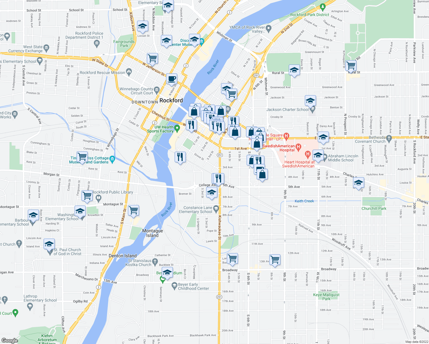 map of restaurants, bars, coffee shops, grocery stores, and more near 412 May St in Rockford