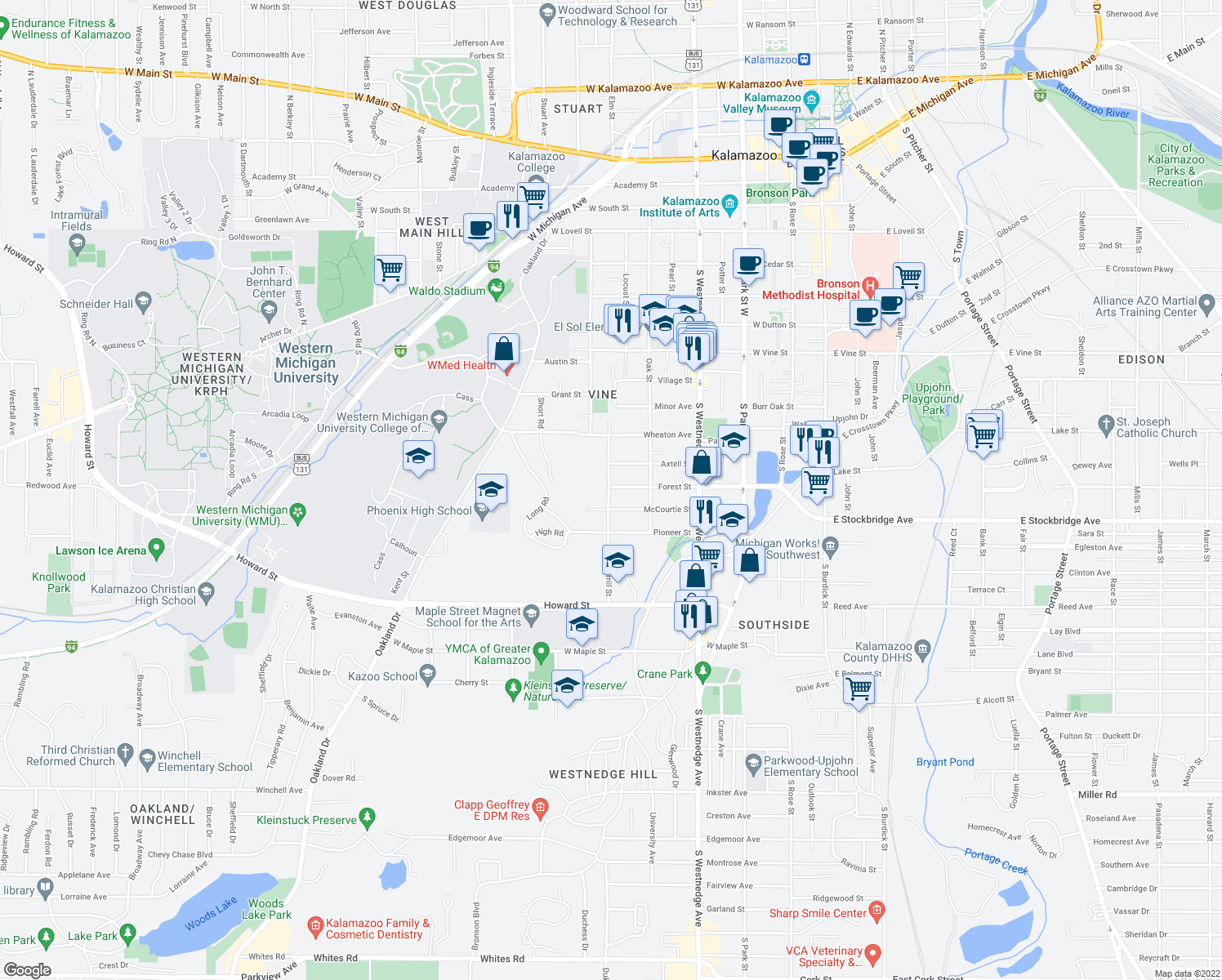 map of restaurants, bars, coffee shops, grocery stores, and more near 1313 Merrill Street in Kalamazoo