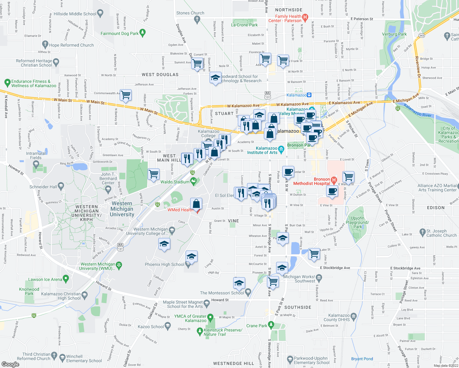 map of restaurants, bars, coffee shops, grocery stores, and more near W Walnut St & Davis St in Kalamazoo