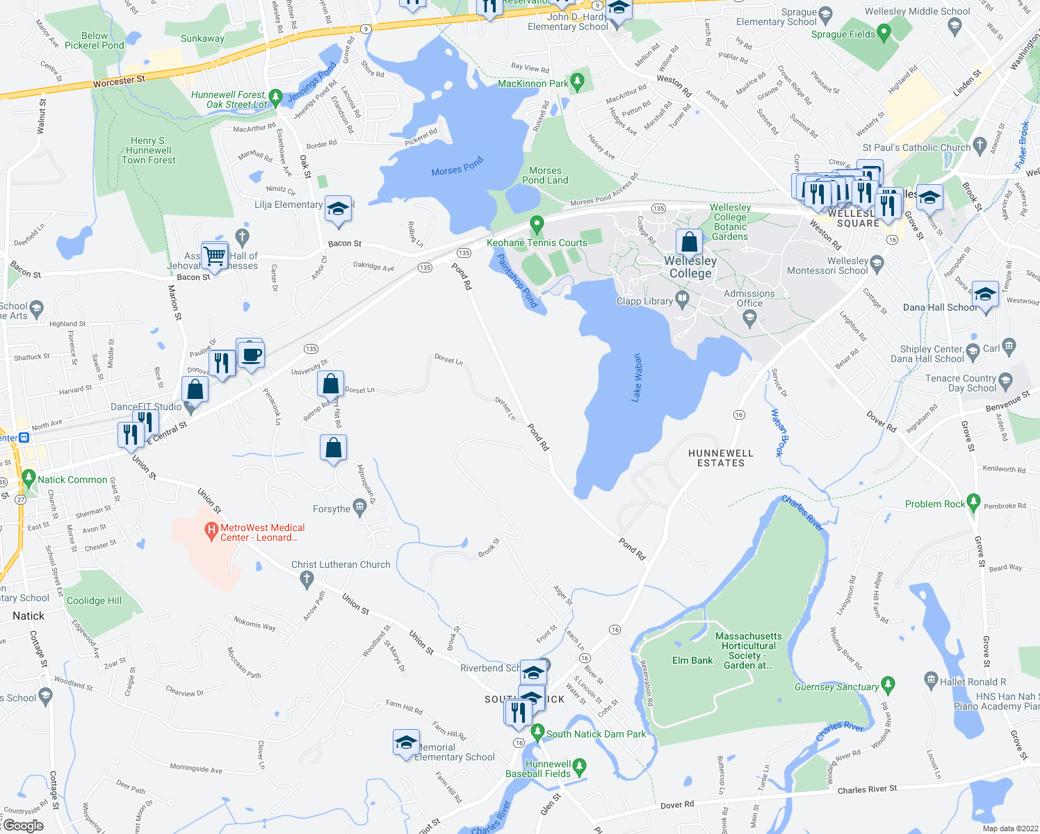map of restaurants, bars, coffee shops, grocery stores, and more near 194 Pond Road in Wellesley