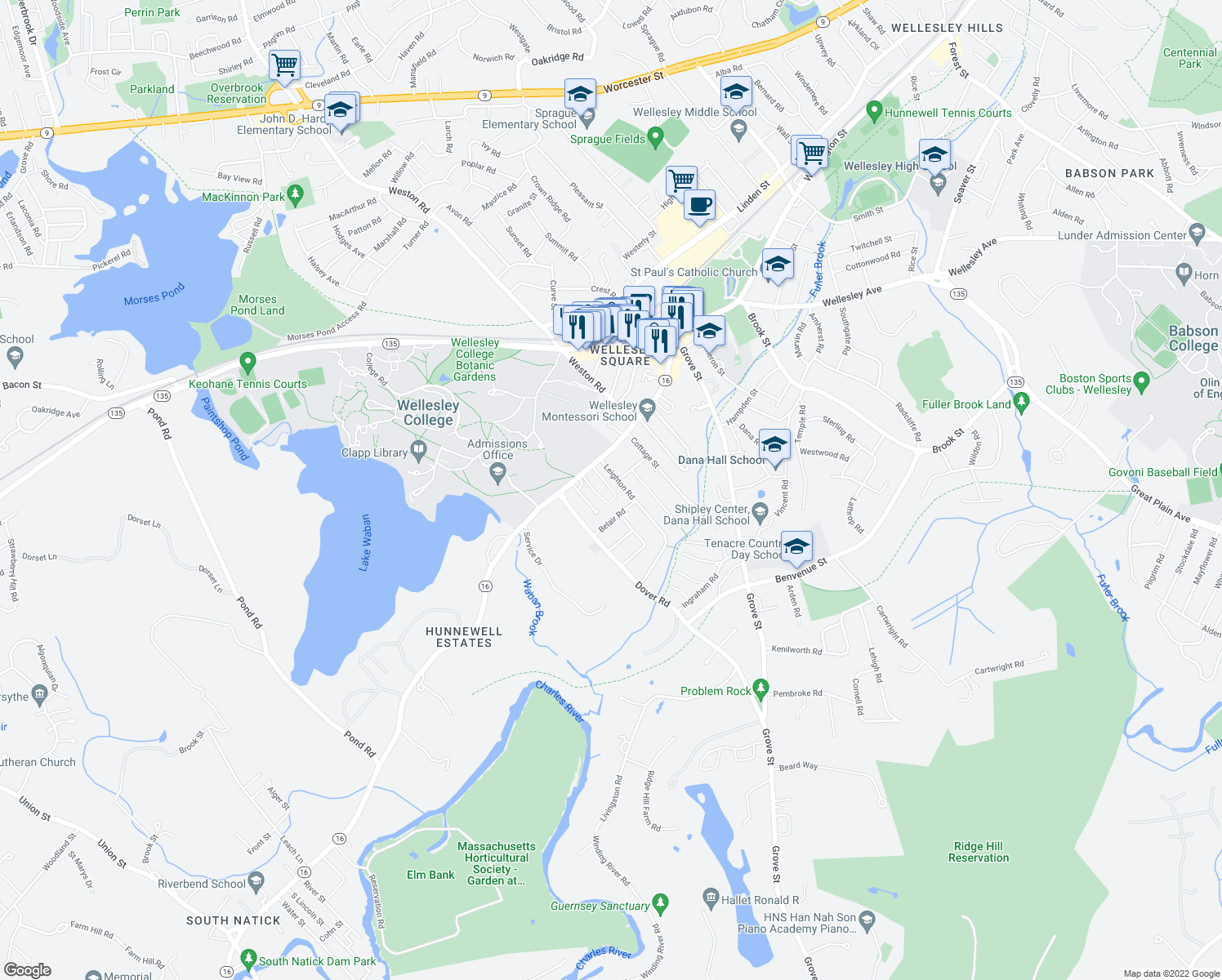 map of restaurants, bars, coffee shops, grocery stores, and more near in Wellesley