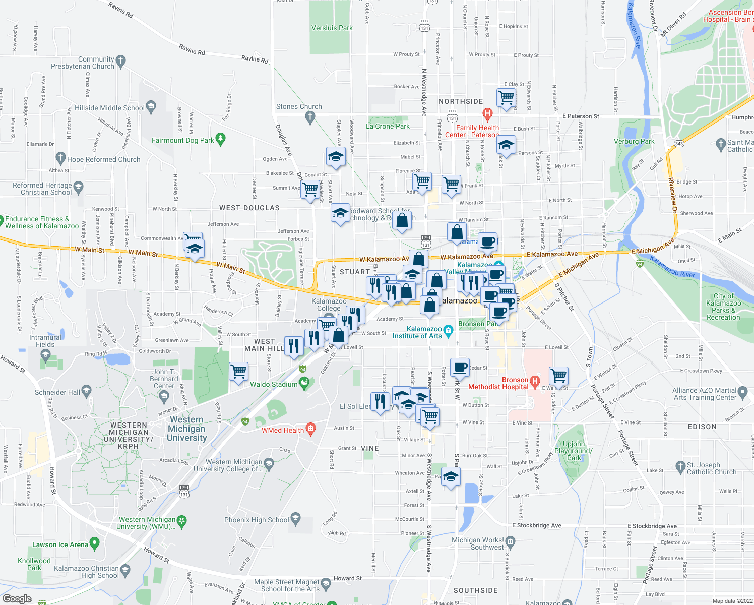 map of restaurants, bars, coffee shops, grocery stores, and more near W Main St & Elm St in Kalamazoo