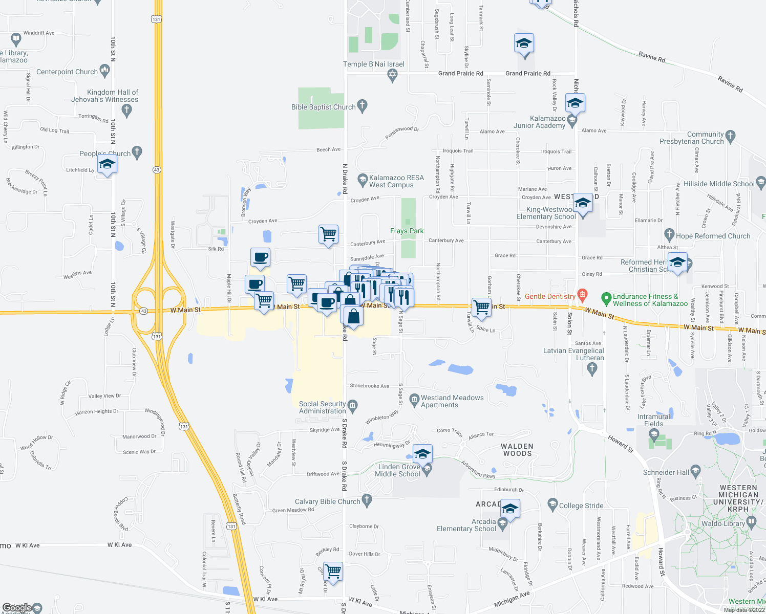 map of restaurants, bars, coffee shops, grocery stores, and more near 4405-4701 West Main Street in Kalamazoo