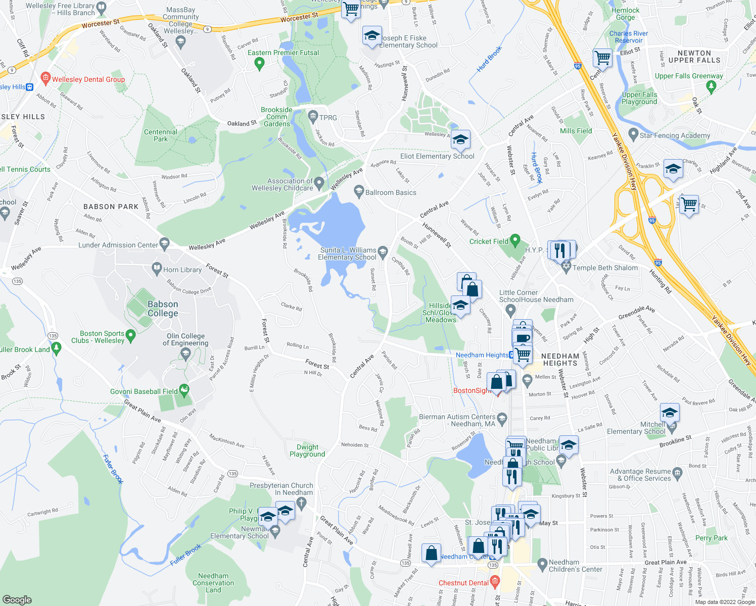map of restaurants, bars, coffee shops, grocery stores, and more near 665 Central Avenue in Needham