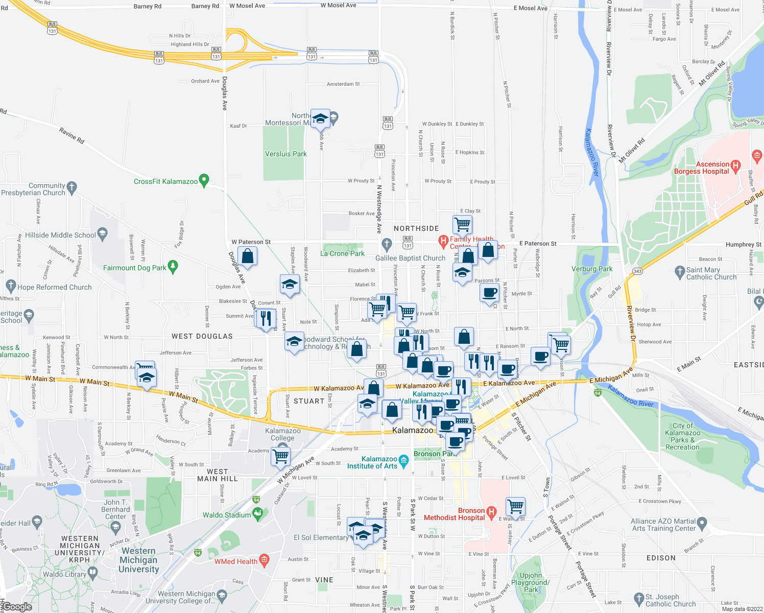 map of restaurants, bars, coffee shops, grocery stores, and more near N Westnedge Ave & Lawrence St in Kalamazoo