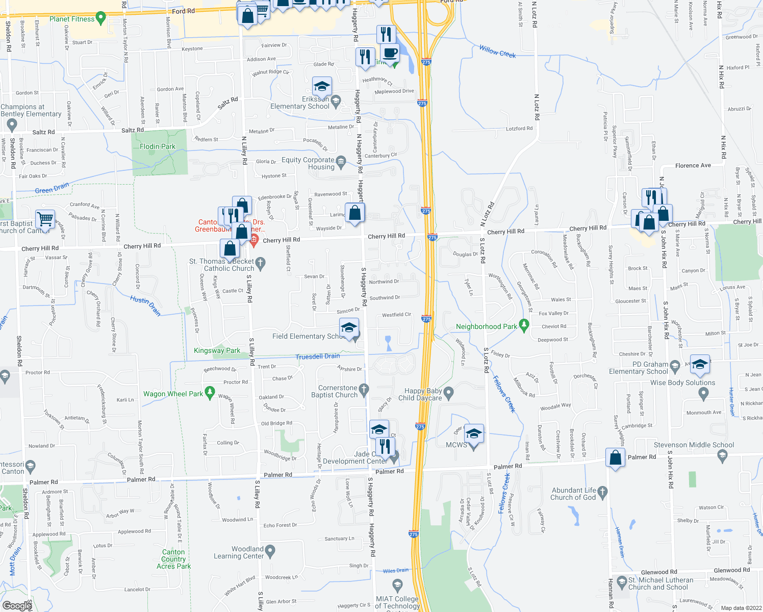 map of restaurants, bars, coffee shops, grocery stores, and more near 41375 Southwind Drive in Canton