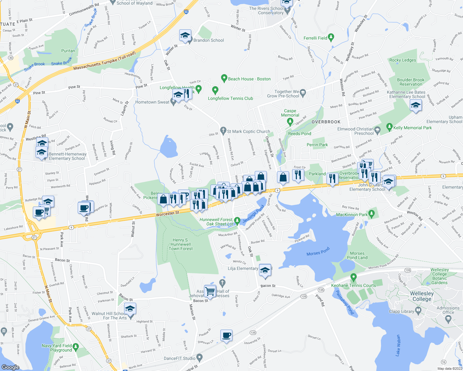 map of restaurants, bars, coffee shops, grocery stores, and more near 98 Oak St in Natick