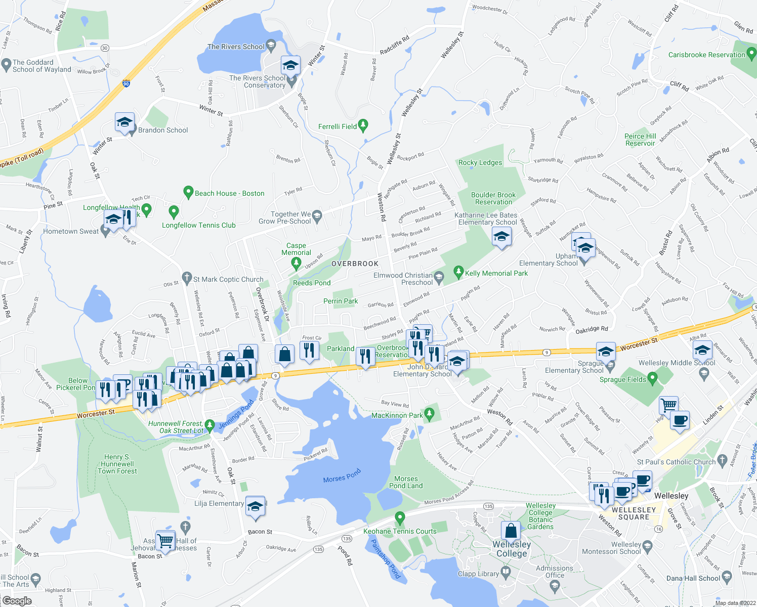 map of restaurants, bars, coffee shops, grocery stores, and more near Garrison Road in Wellesley