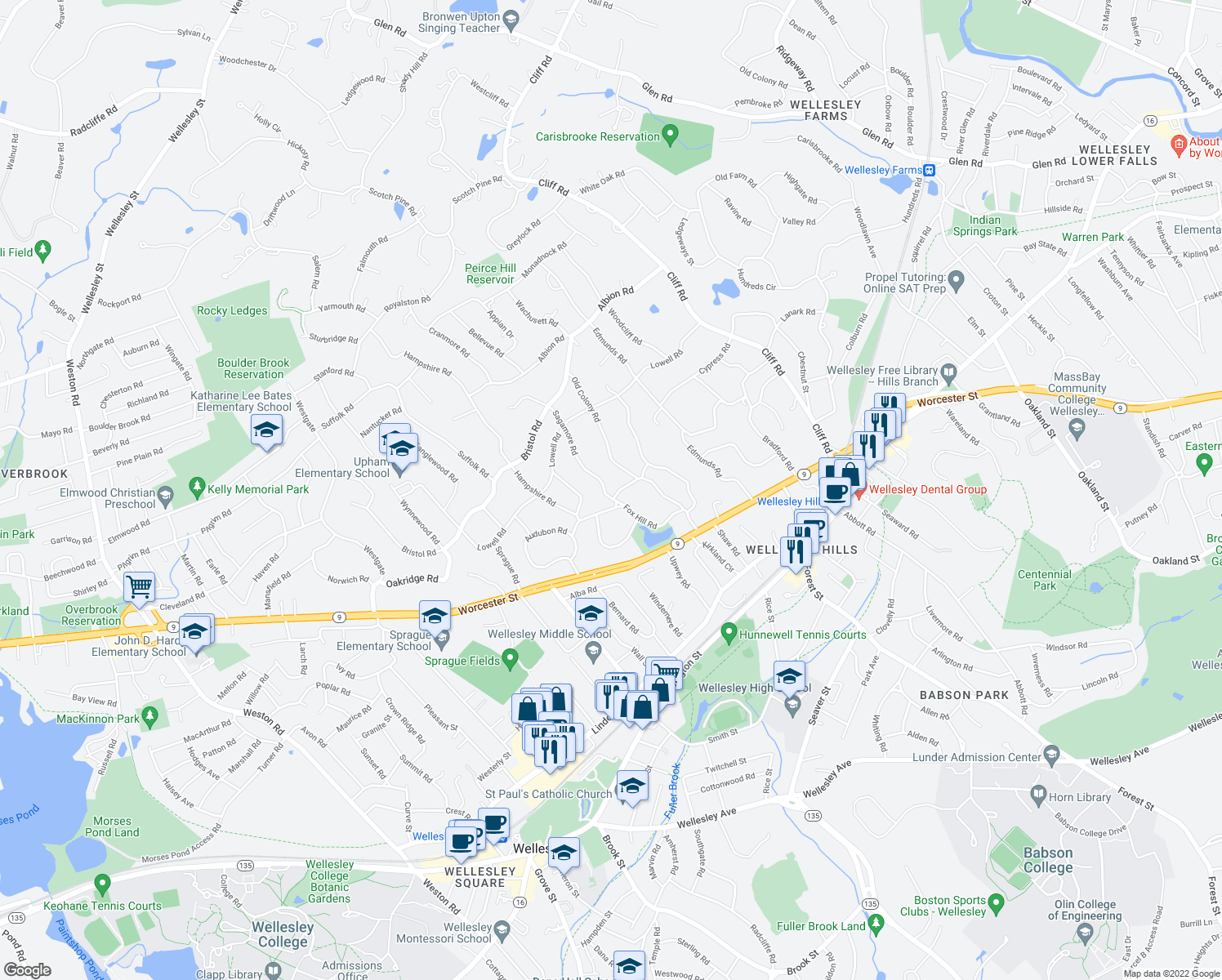 map of restaurants, bars, coffee shops, grocery stores, and more near 3 Sagamore Road in Wellesley