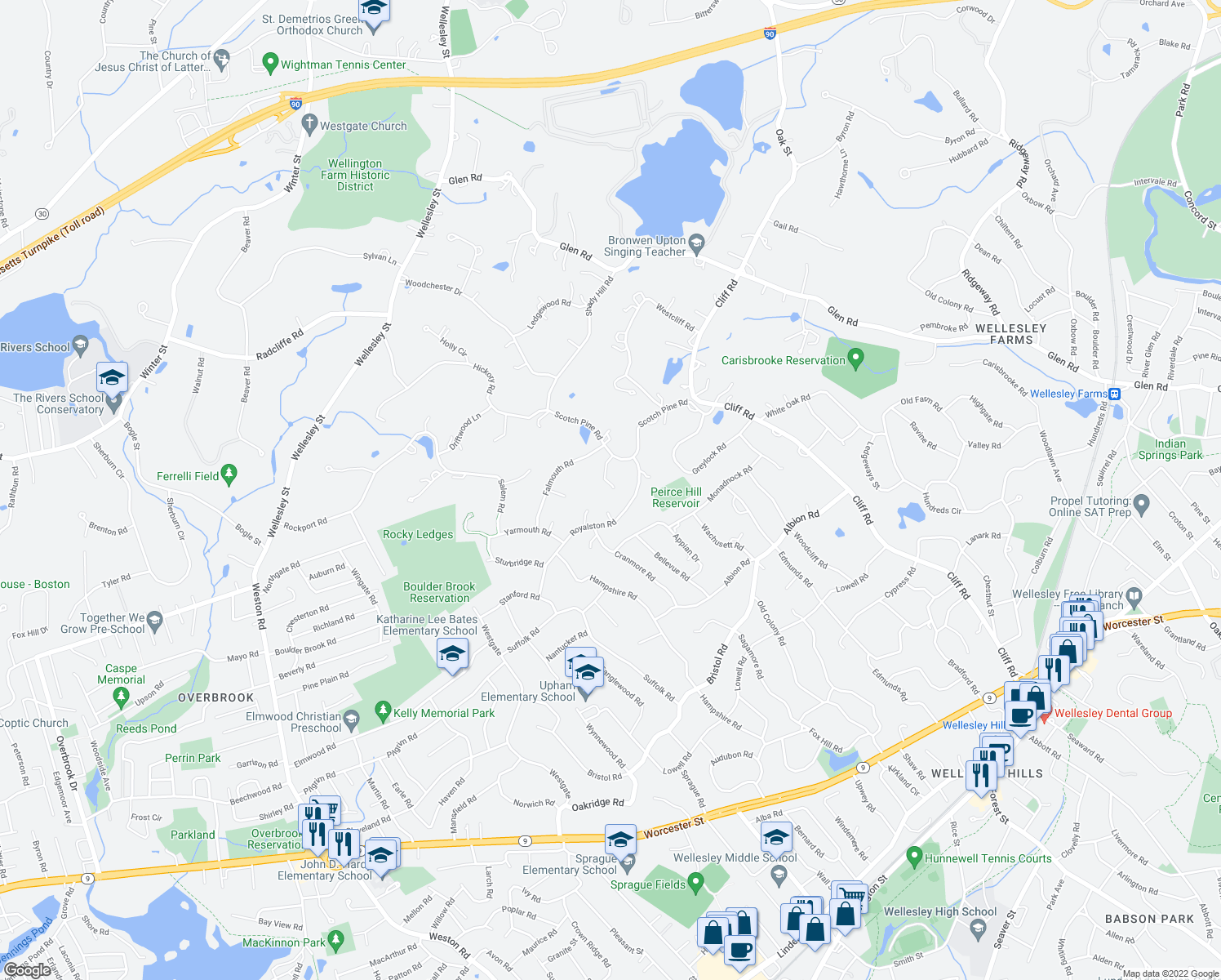 map of restaurants, bars, coffee shops, grocery stores, and more near 14 Scotch Pine Circle in Wellesley