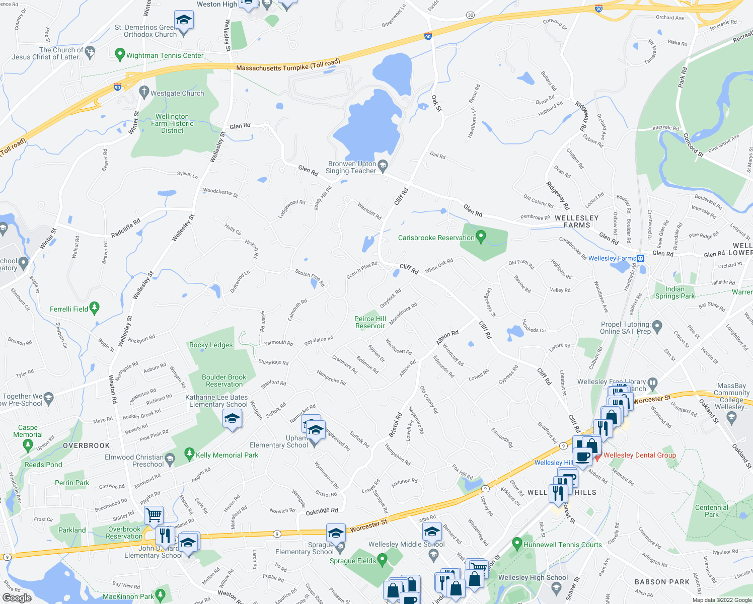 map of restaurants, bars, coffee shops, grocery stores, and more near 43 Greylock Road in Wellesley