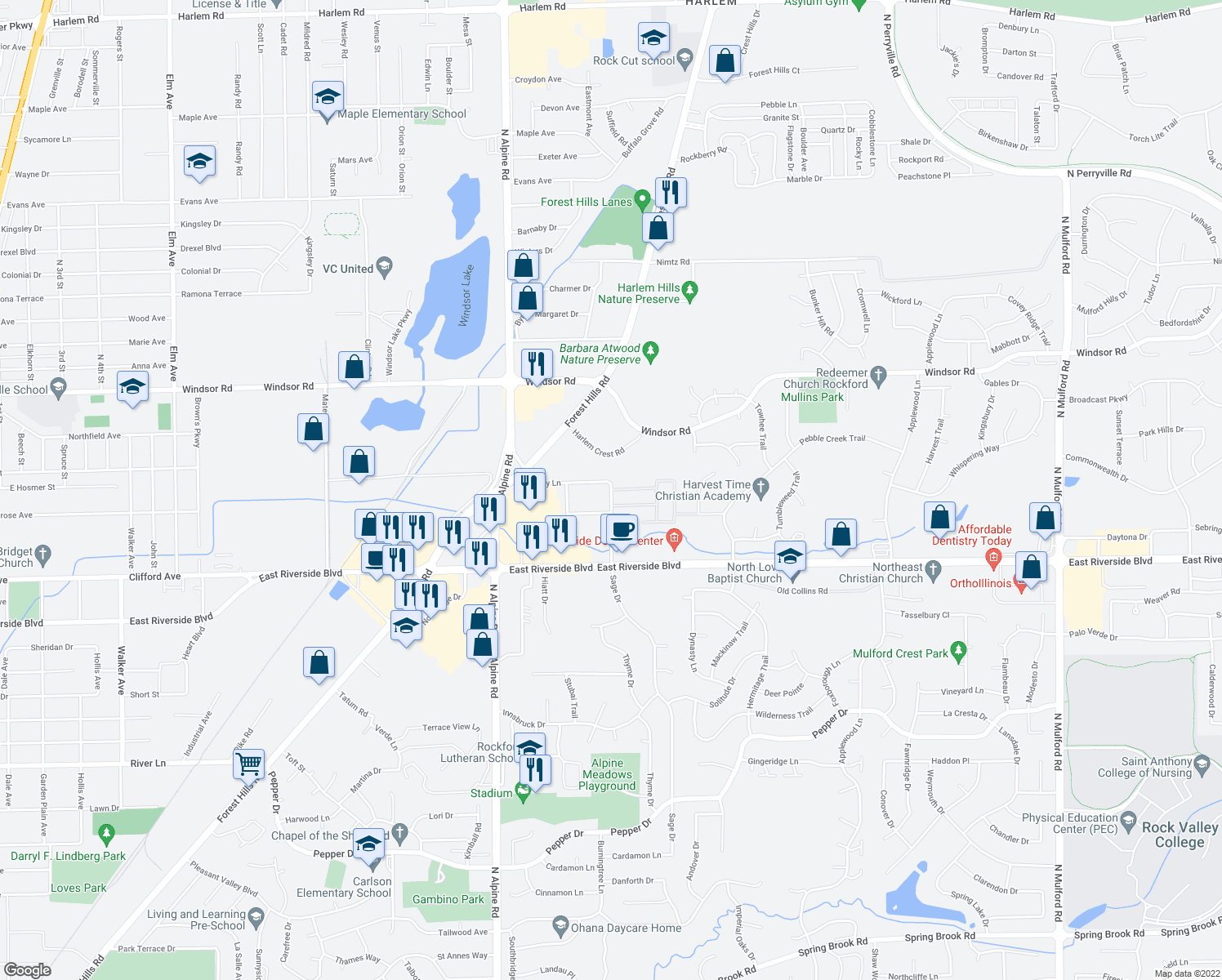 map of restaurants, bars, coffee shops, grocery stores, and more near Renn Hart Hills Rd in Loves Park