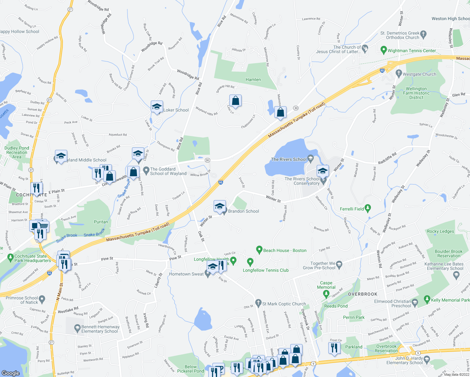 map of restaurants, bars, coffee shops, grocery stores, and more near 4 Frost Street in Natick